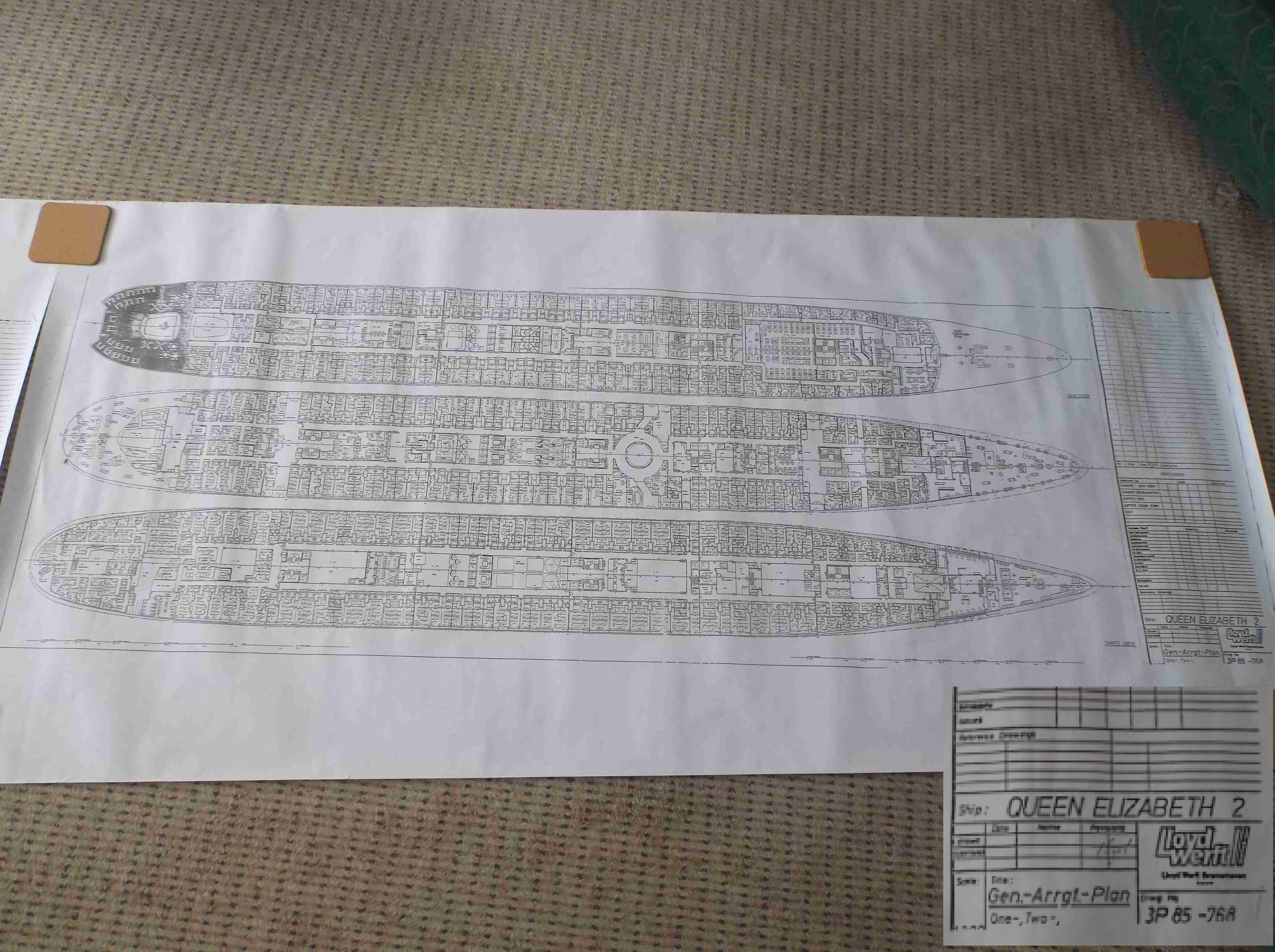 Maritime naval antiques catalogue travellers in time set of plans for the queen elizabeth 2 showing all decks baanklon Gallery