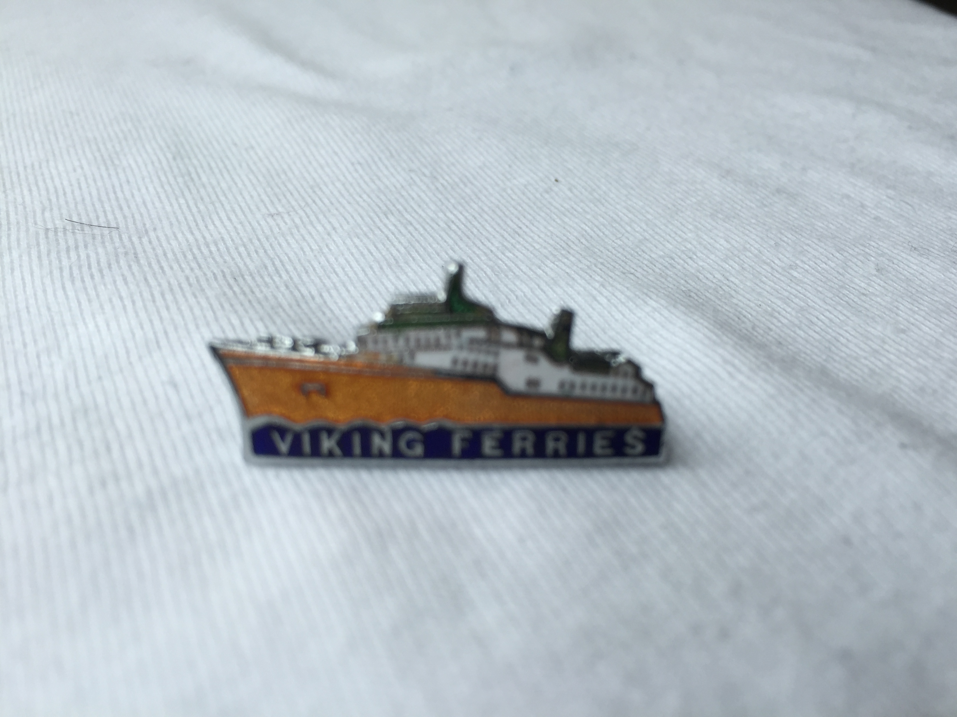 SHIP SHAPE LAPEL PIN FROM THE VIKING FERRY CROSSING COMPANY