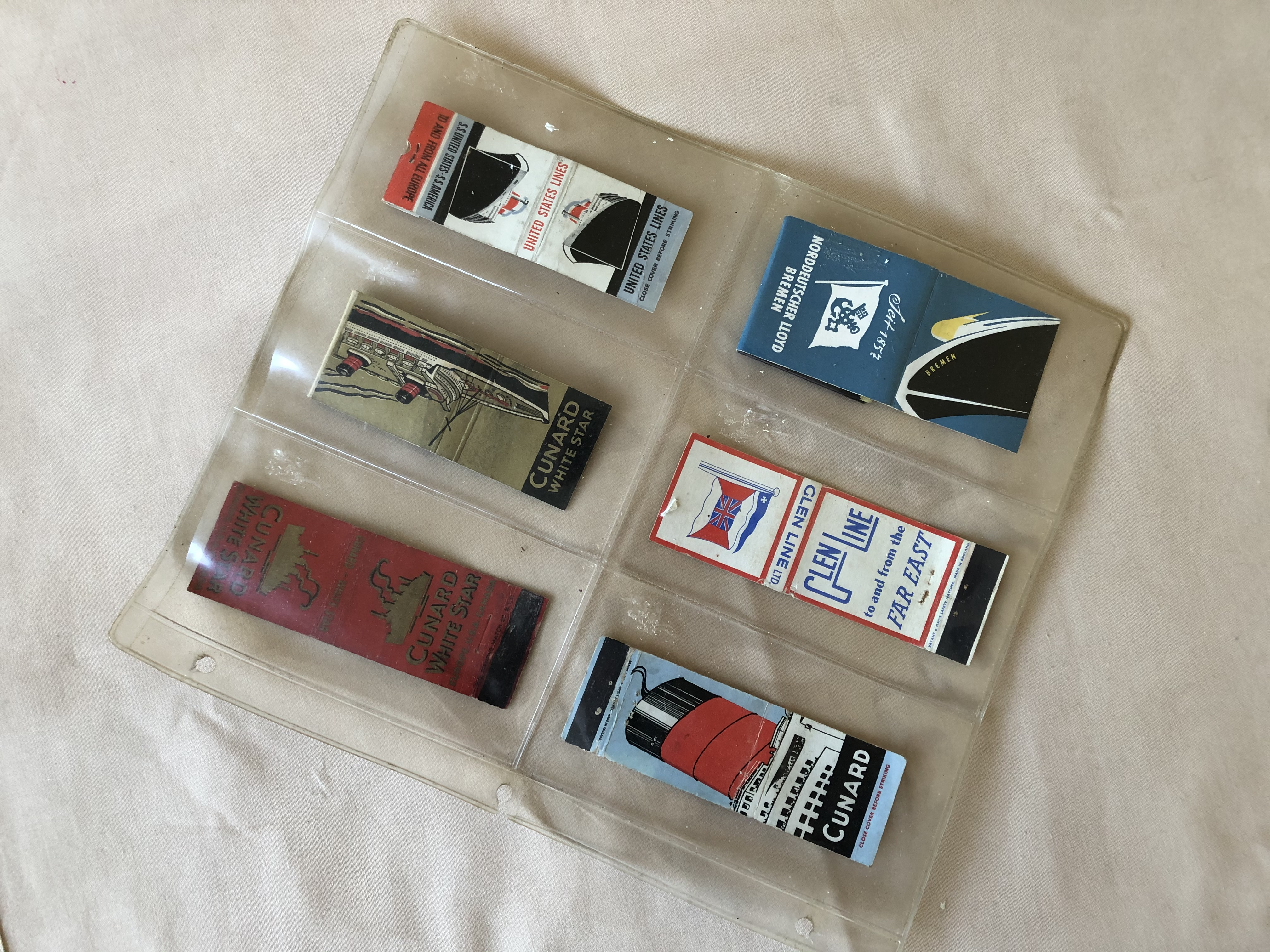 SIX VERY OLD CIGARETTE MATCH COVERS FROM VARIOUS OLD SHIPPING LINE COMPANIES