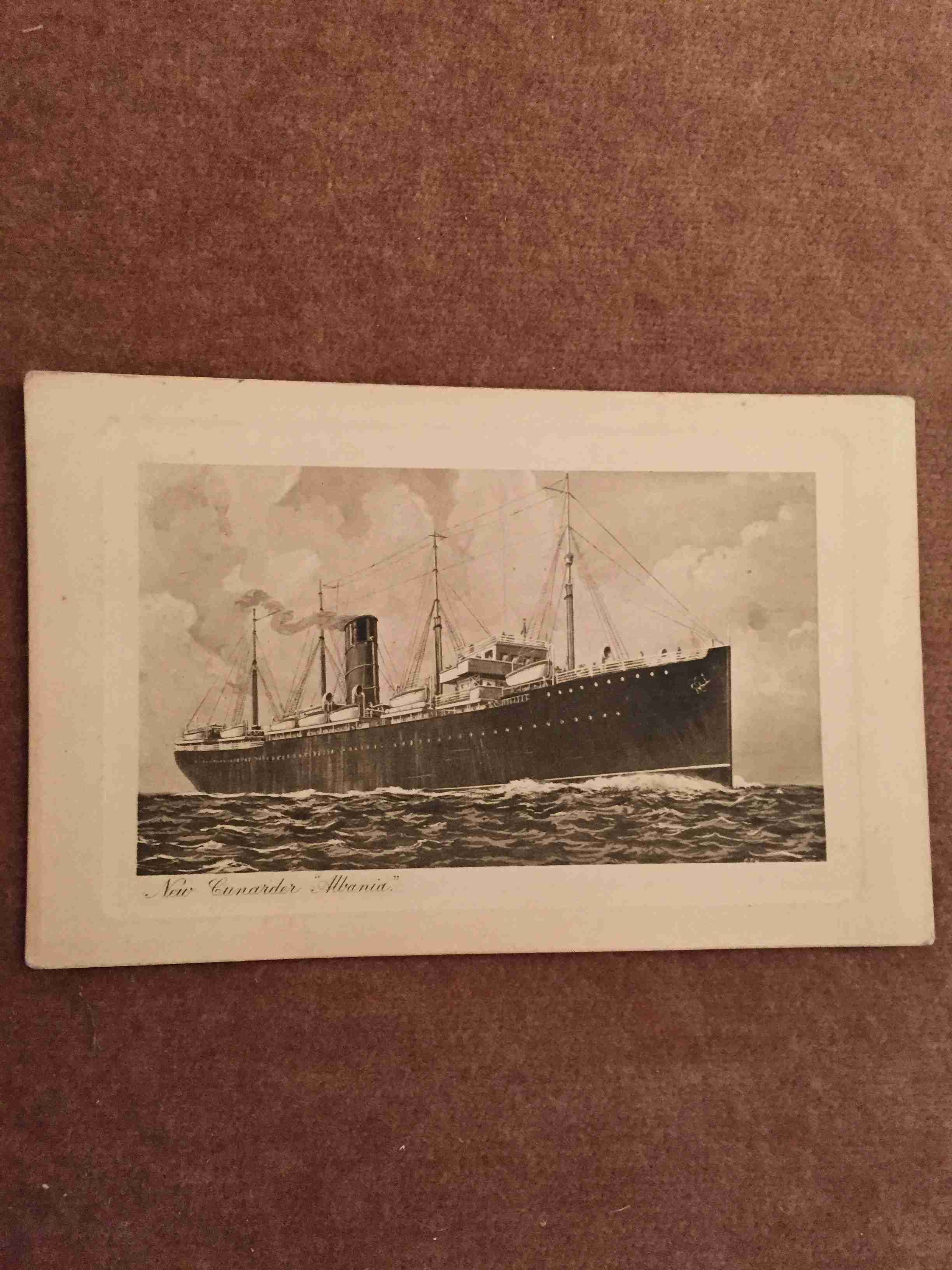 UNUSED B&W POSTCARD FROM THE OLD CUNARD LINE VESSEL THE ALBANIA