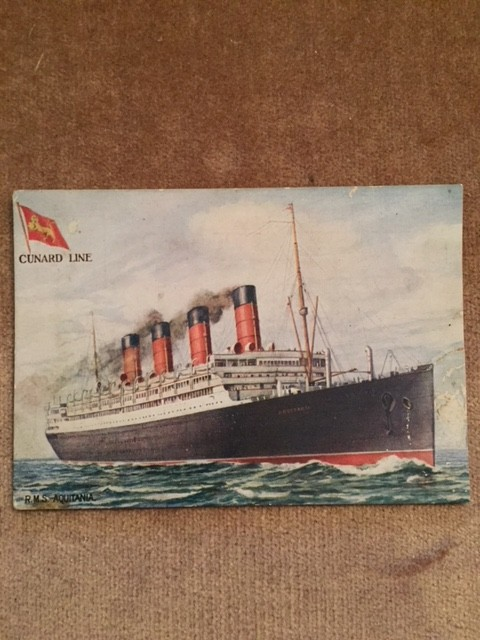 UNUSED COLOUR POSTCARD FROM THE OLD VESSEL THE RMS AQUITANIA