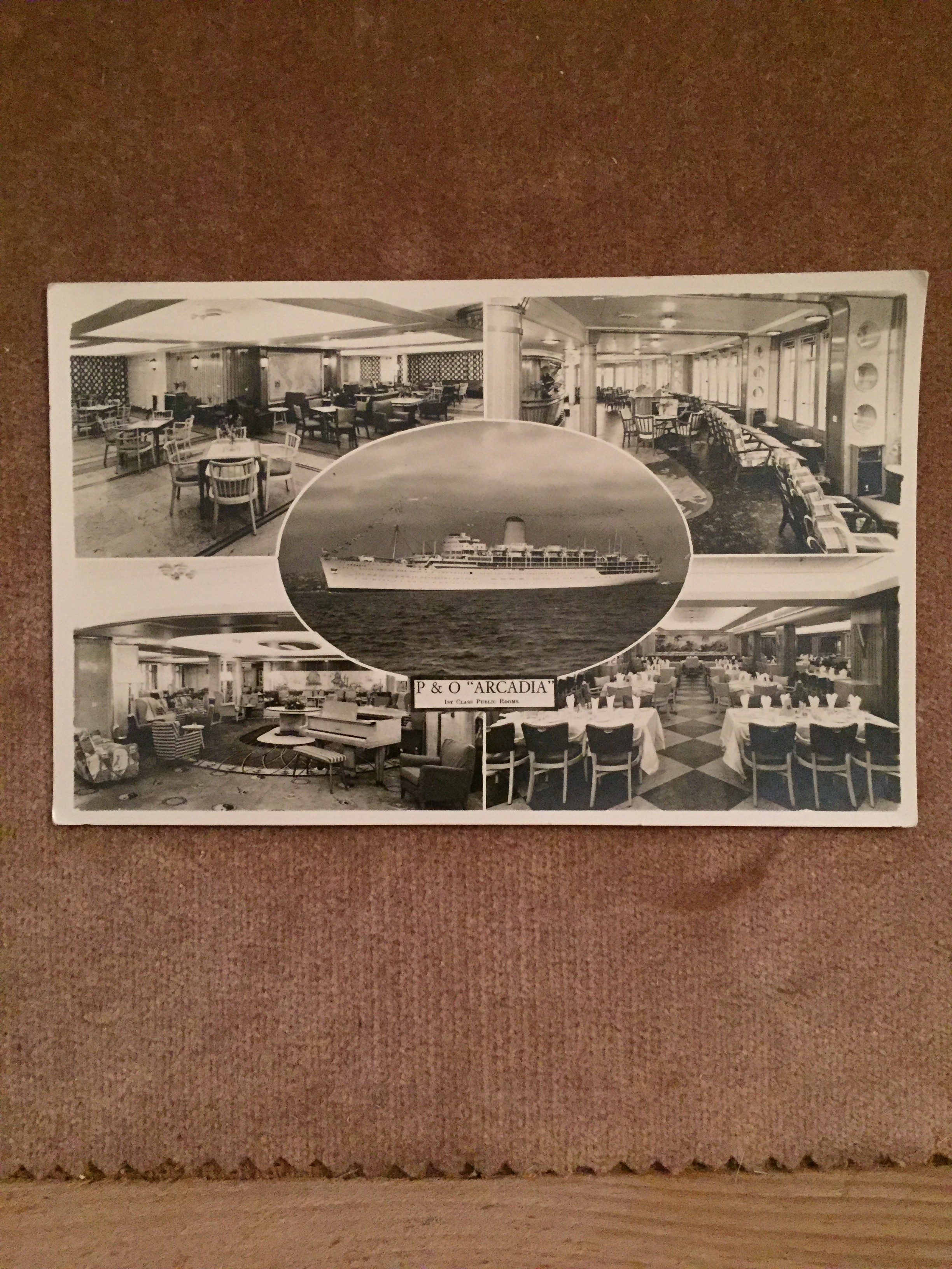 UNUSED B/W POSTCARD FROM THE OLD P&O LINE VESSEL THE SS ARCADIA