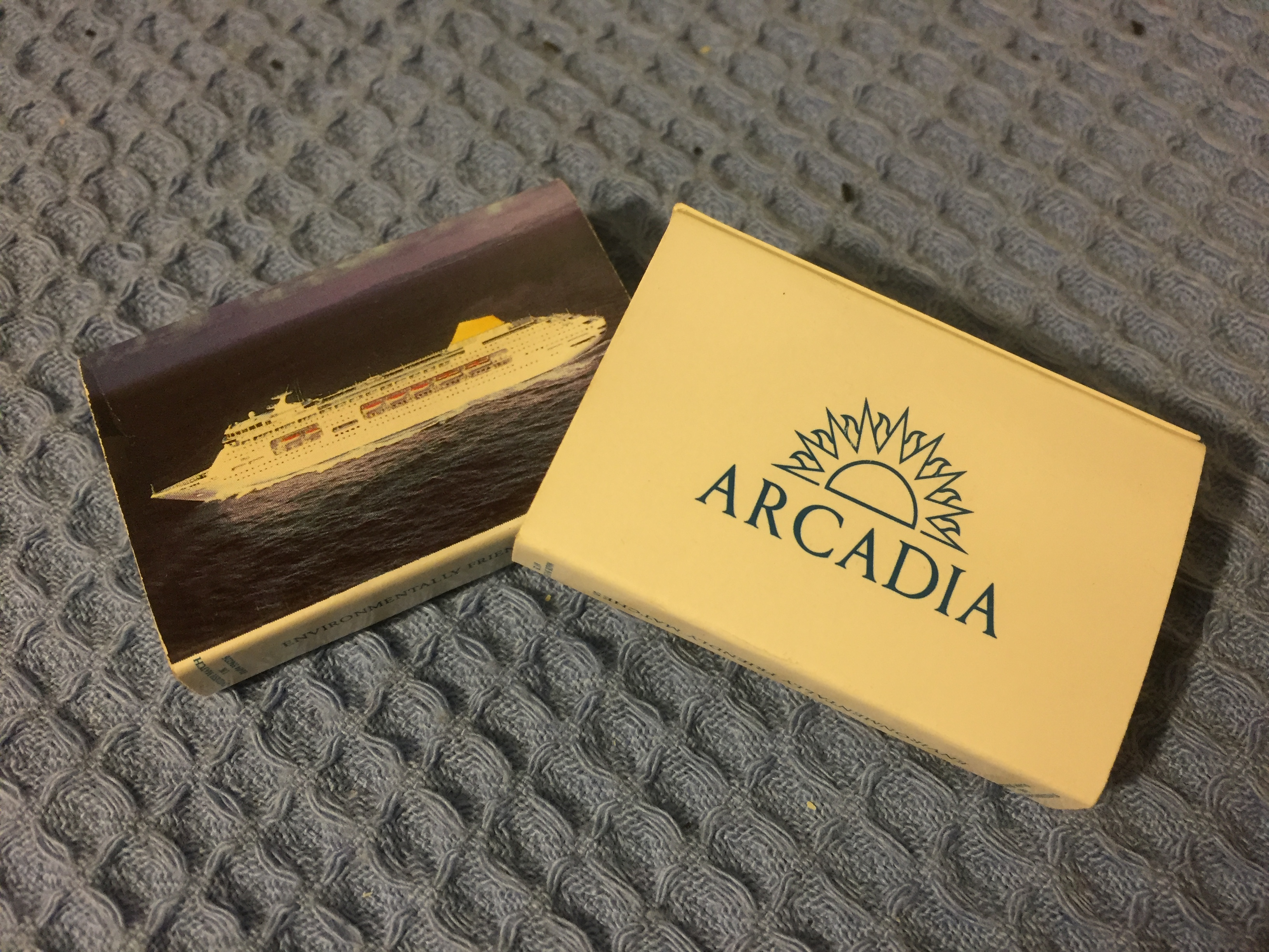 TWO BOXES OF UNUSED MATCHES FROM THE P&O LINE VESSEL ARCADIA