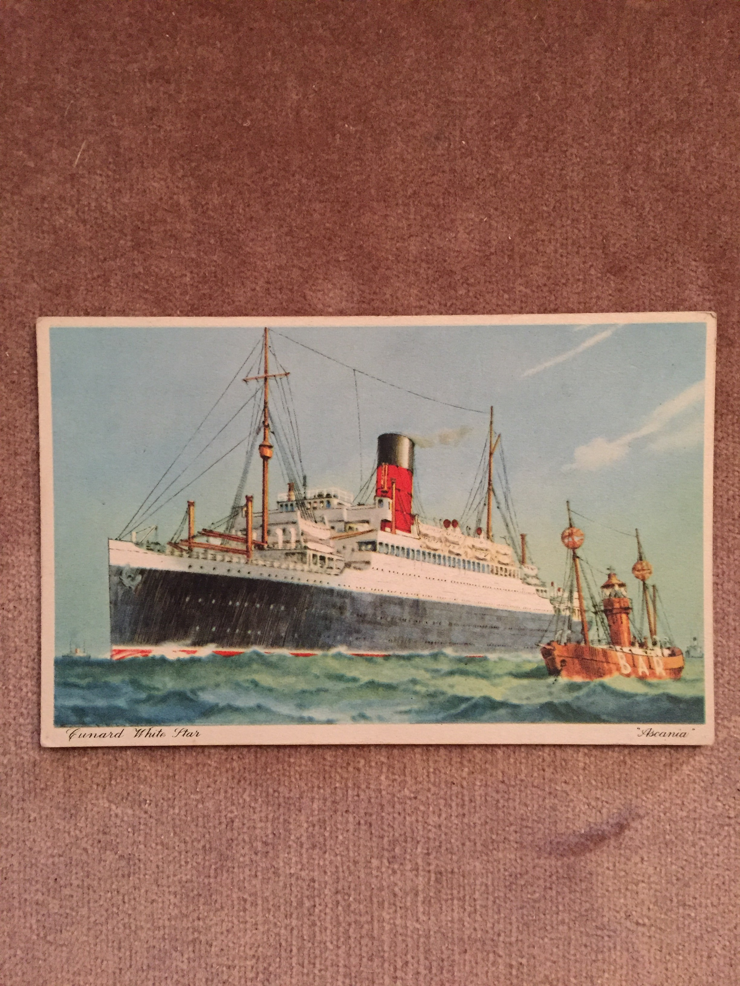 UNUSED COLOUR POSTCARD FROM THE OLD CUNARD WHITE STAR LINE VESSEL THE RMS ASCANIA