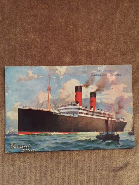 MINT CONDITION POSTCARD FROM THE CUNARD WHITESTAR LINE VESSEL THE ASCANIA