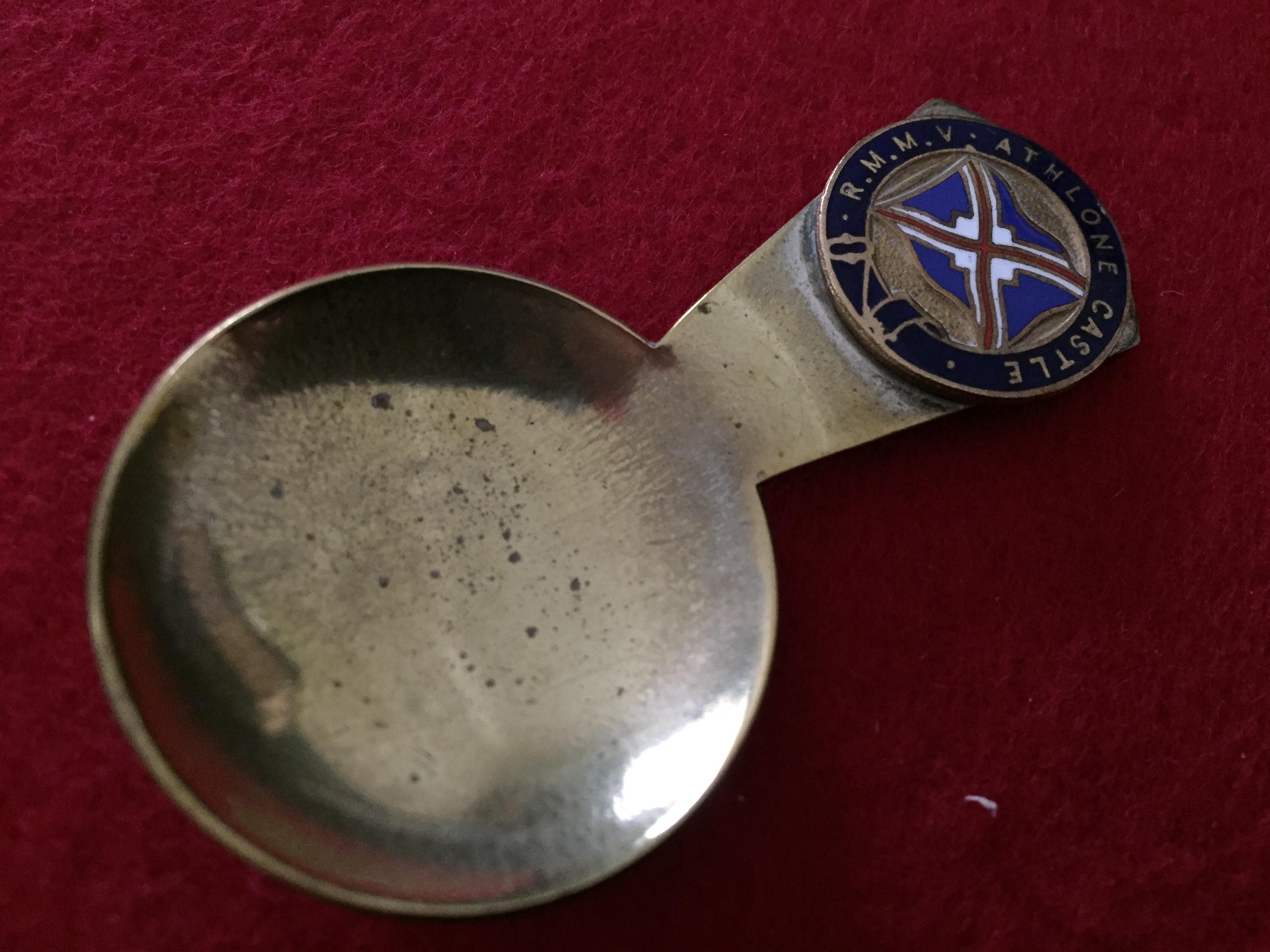 SOUVENIR TEA CADDY SPOON FROM THE UNION CASTLE LINE VESSEL THE RMMV ATHLONE CASTLE