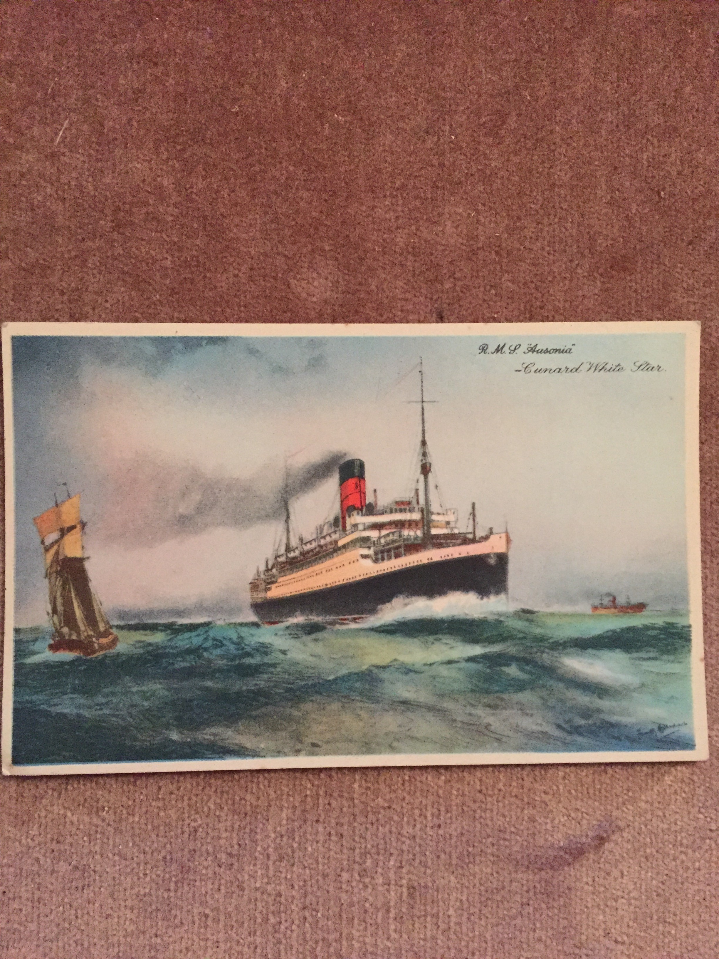 UNUSED COLOUR POSTCARD FROM THE OLD CUNARD WHITE STAR LINE VESSEL THE RMS AUSONIA