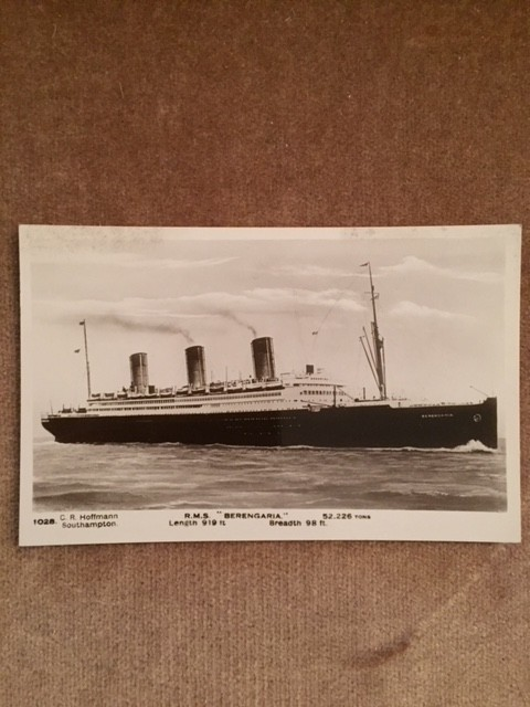 UNUSED B/W POSTCARD FROM THE OLD CUNARD LINE VESSEL THE BERENGARIA