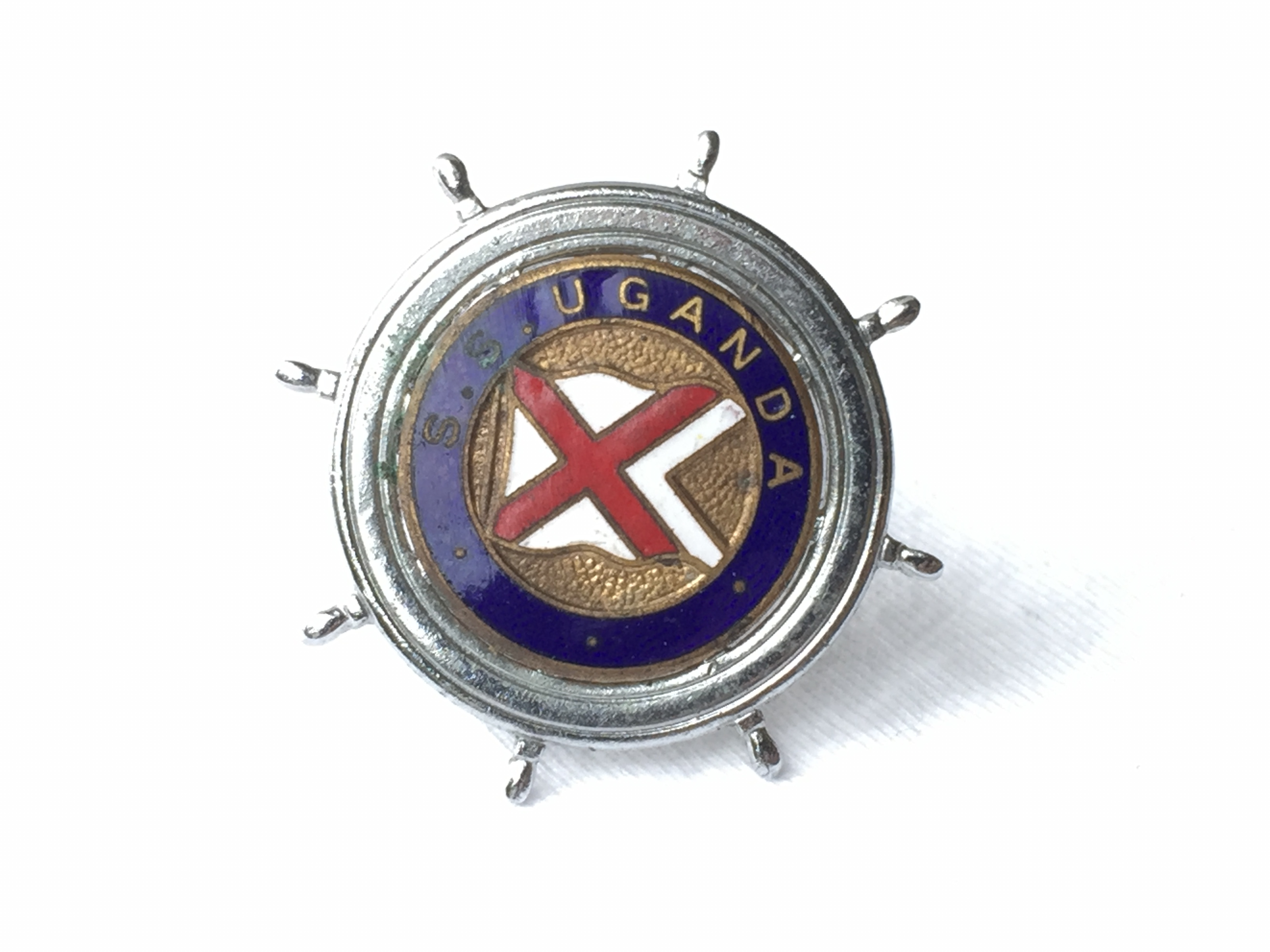 LAPEL PIN BADGE FROM THE BRITISH INDIA STEAM NAVIGATION COMPANY LINE VESSEL THE SS UGANDA 1947-1983