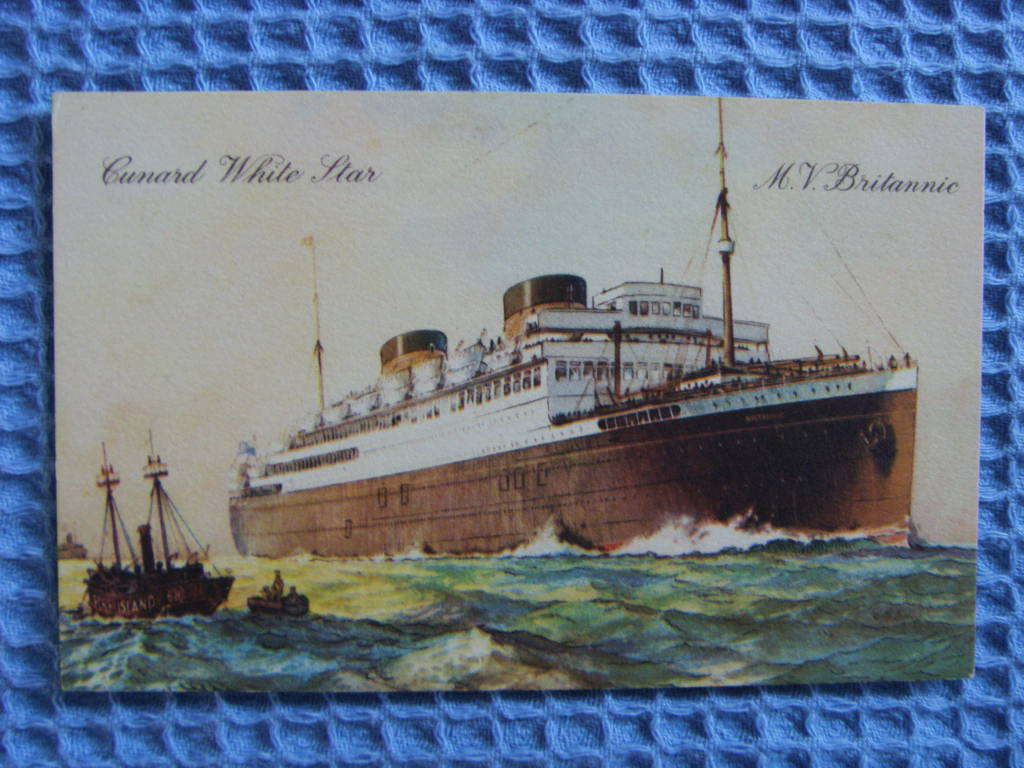 UNUSED OLD POSTCARD OF CUNARD LINE VESSEL M.V. BRITANNIC