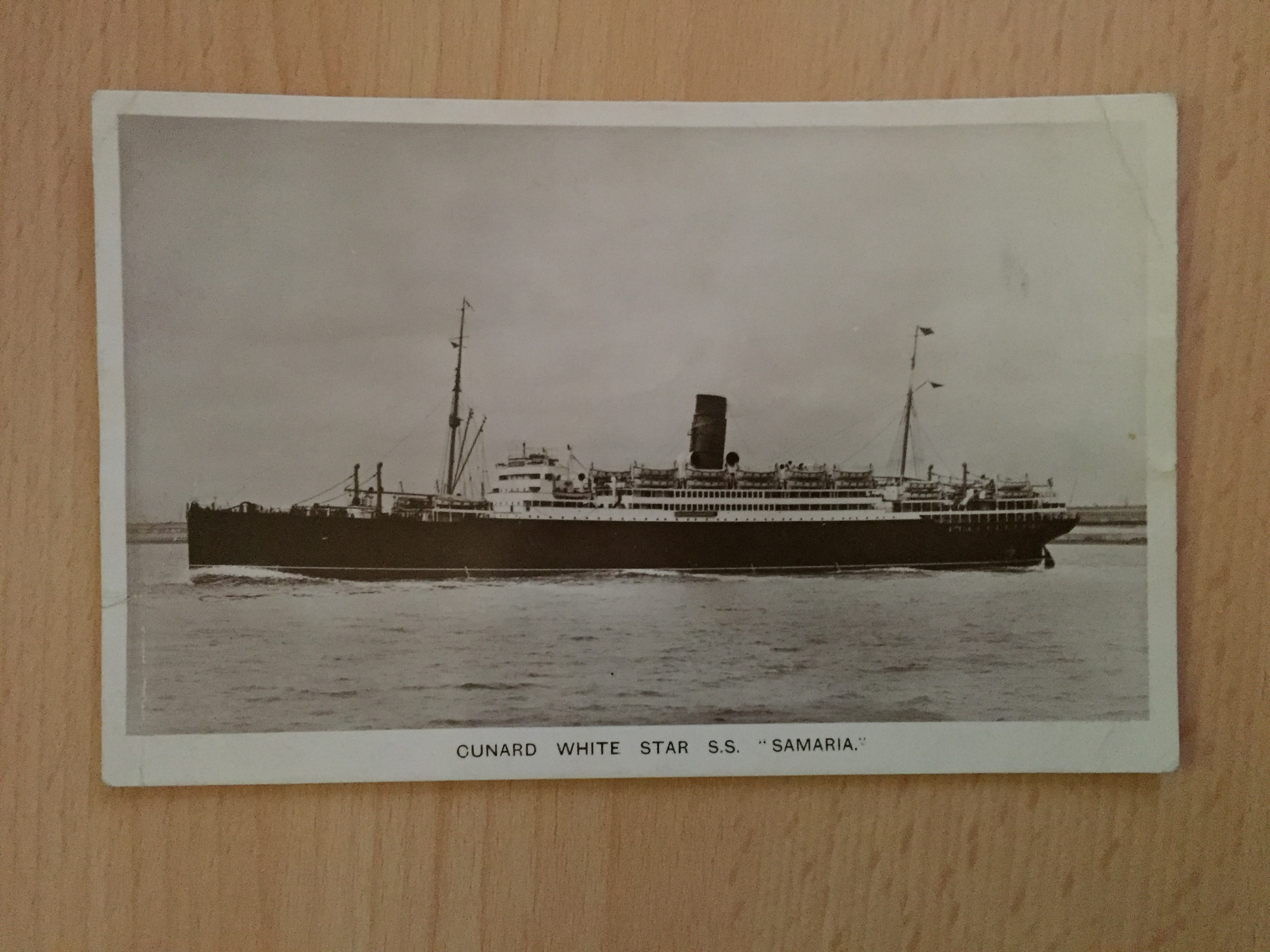 B/W RARE POSTCARD OF THE WHITE STAR LINER THE RMS SAMARIA