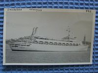 ORIGINAL B/W PHOTOGRAPH OF THE OLD VESSEL THE CANBERRA TAKEN DURING SEA TRIALS