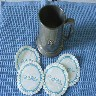 PEWTER TANKARD AND 4 PAPER COASTERS FROM THE P&O VESSEL THE SS CANBERRA