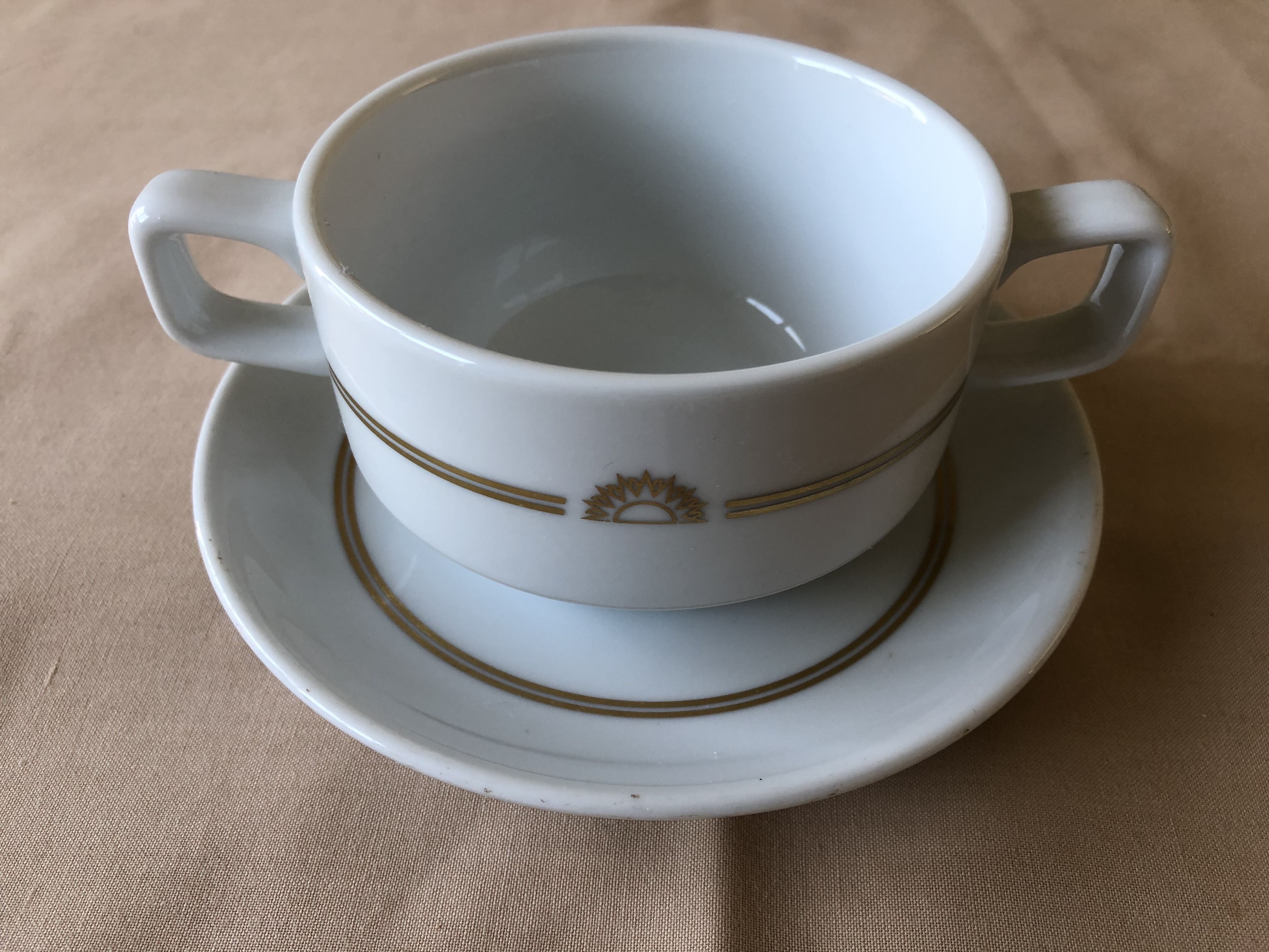 RARE TO FIND TWO HANDLED DINNER BOWL AND SAUCER FROM THE P&O VESSEL THE CANBERRA