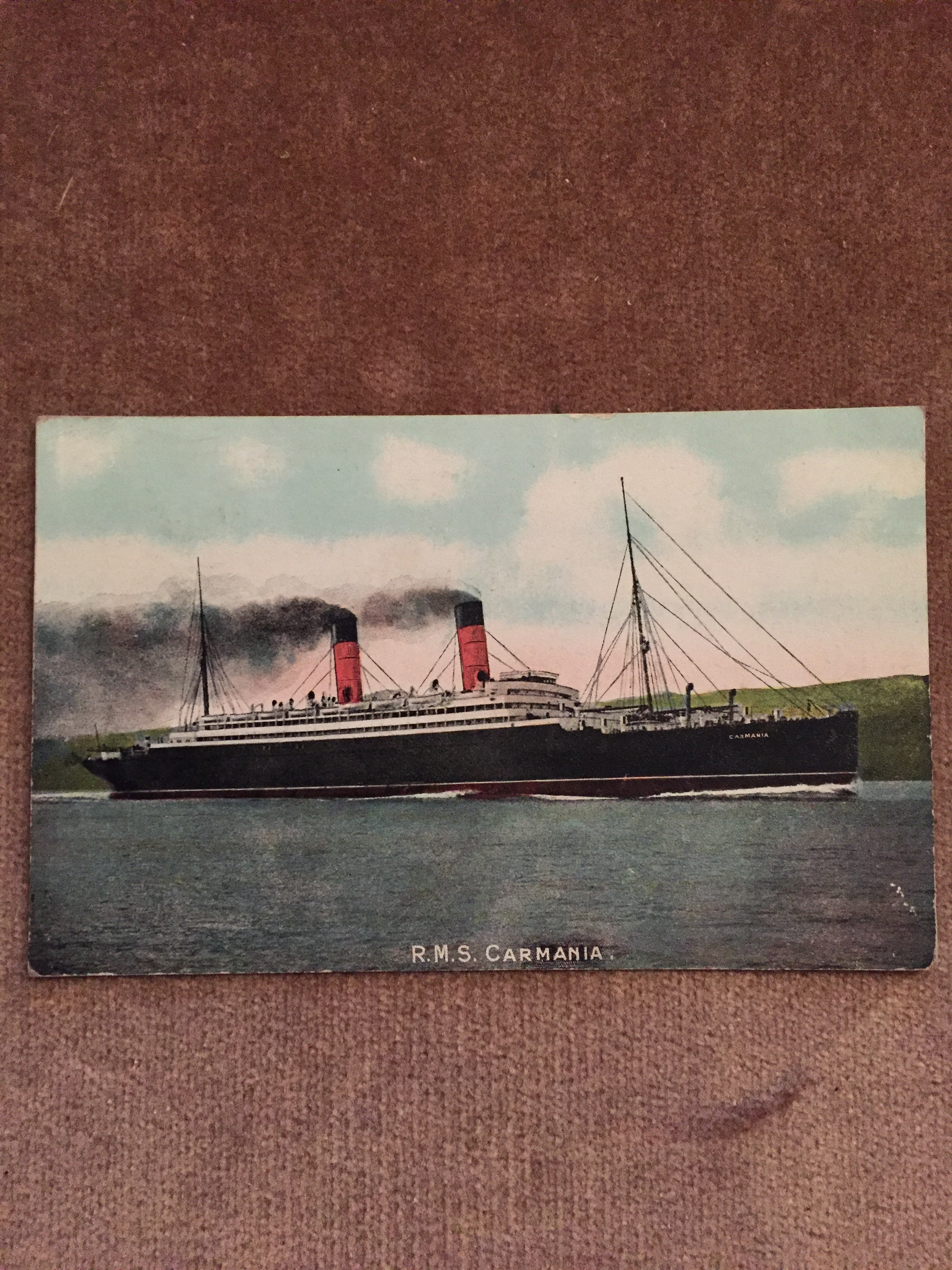 USED COLOUR POSTCARD FROM THE OLD CUNARD LINE VESSEL THE RMS CARMANIA
