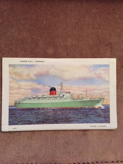 UNUSED LETTERCARD FROM THE CUNARD LINE VESSEL THE RMS CARMANIA