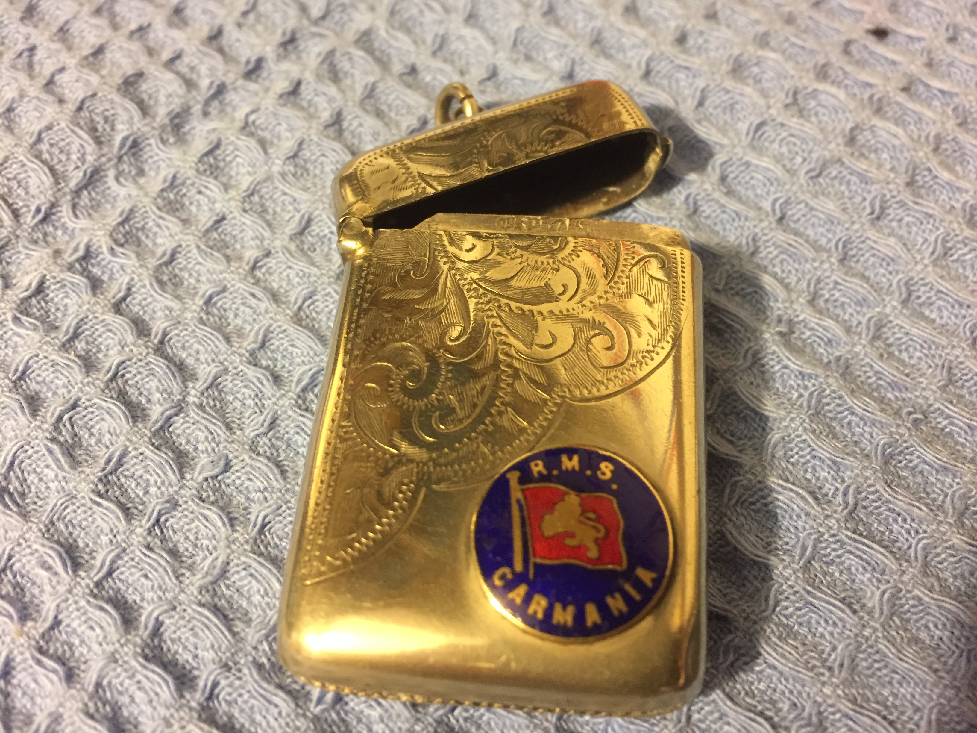 EXTREMELY RARE TO FIND MATCH CASE FROM THE CUNARD LINE VESSEL THE RMS CARMANIA