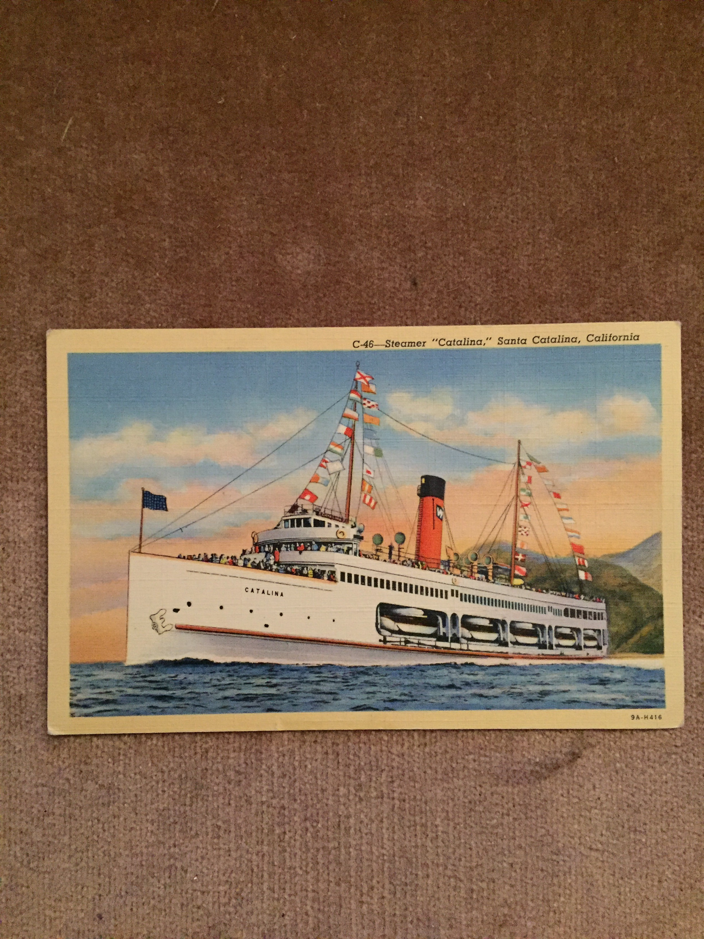 UNUSED COLOUR POSTCARD FROM THE OLD STEAMSHIP VESSEL THE CATALINA