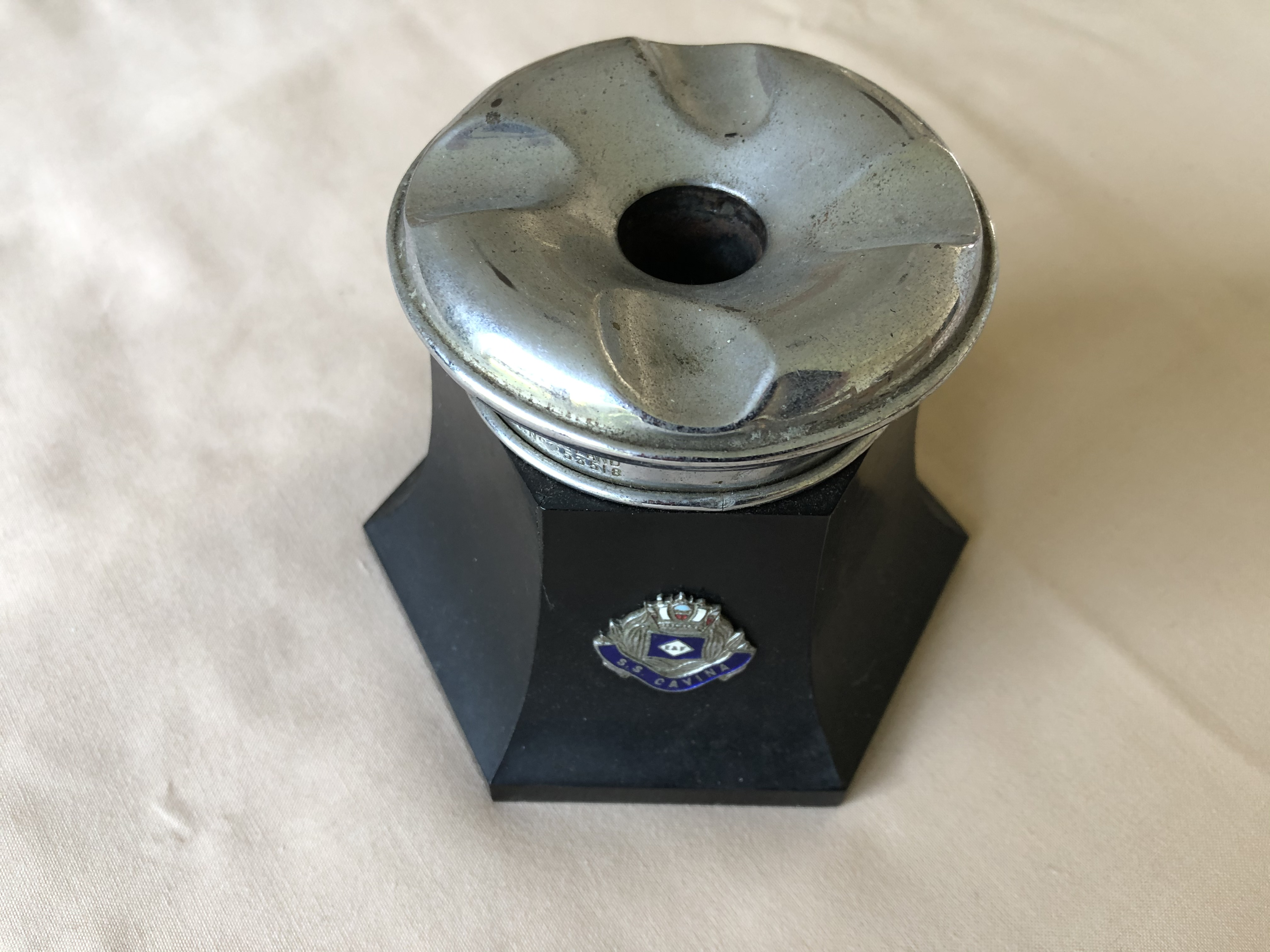 EVER SO RARE ORIGINAL AS USED ON BOARD ASHTRAY FROM SS CAVINA FROM THE ELDERS AND FYFFES LINE