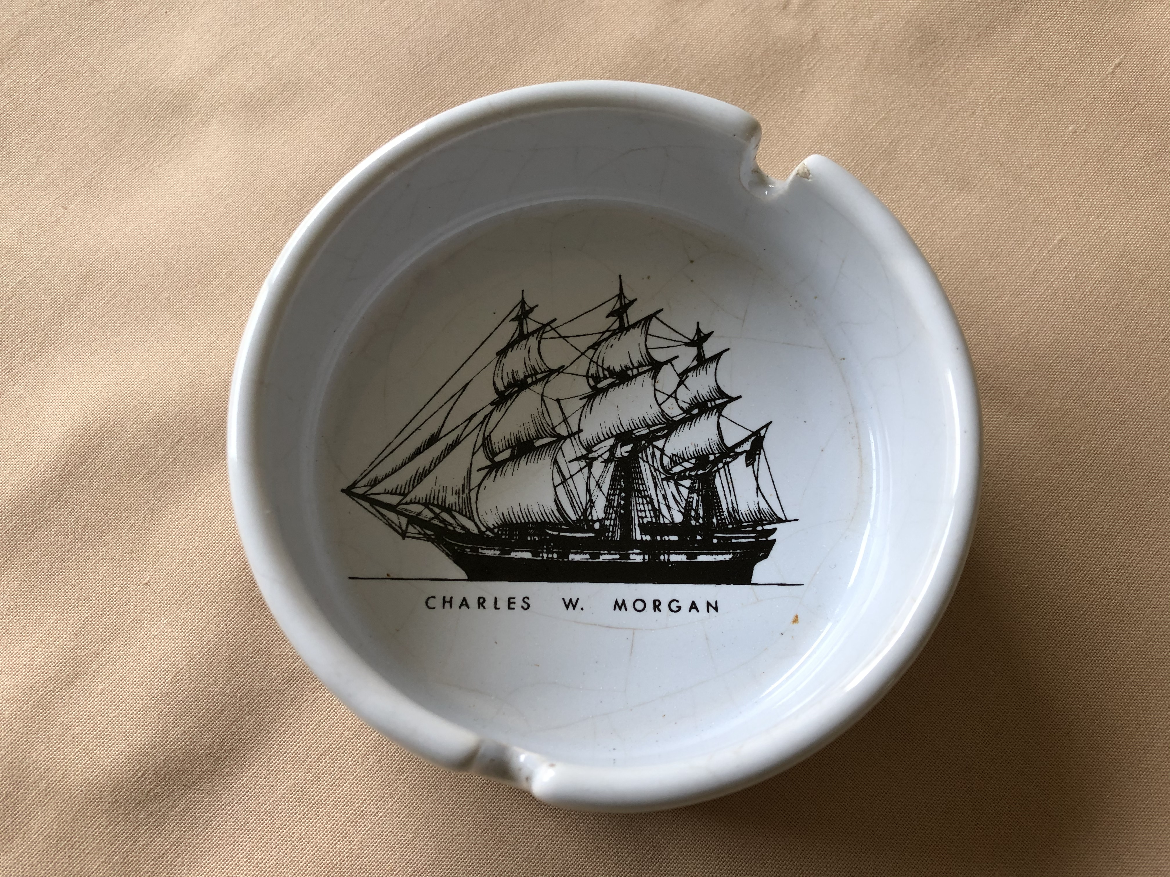 SOUVENIR CHINA ASHTRAY FROM THE VESSEL THE CHARLES W. MORGAN
