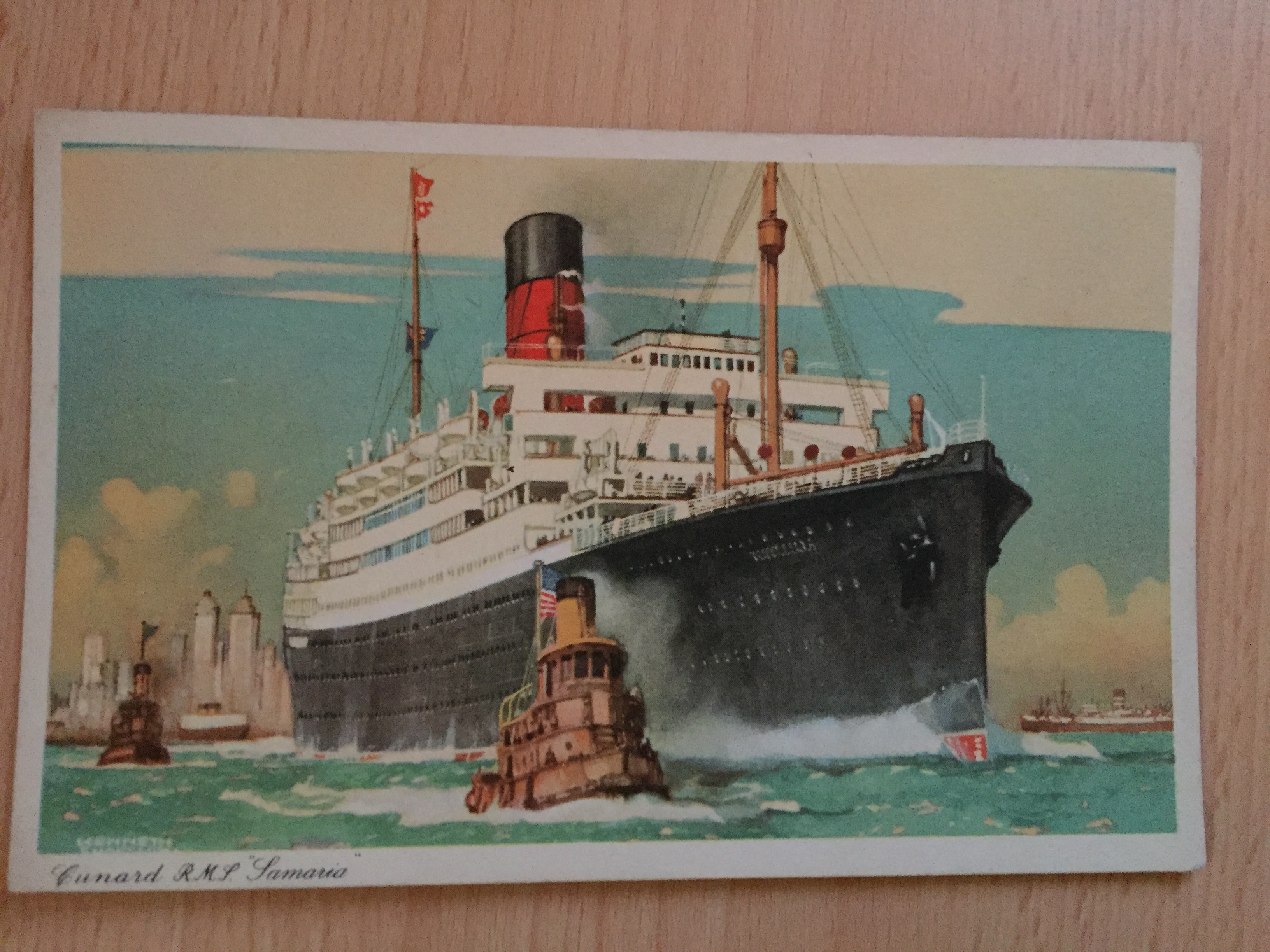 UNUSED COLOUR POSTCARD FROM THE WHITE STAR LINE VESSEL RMS SAMARIA