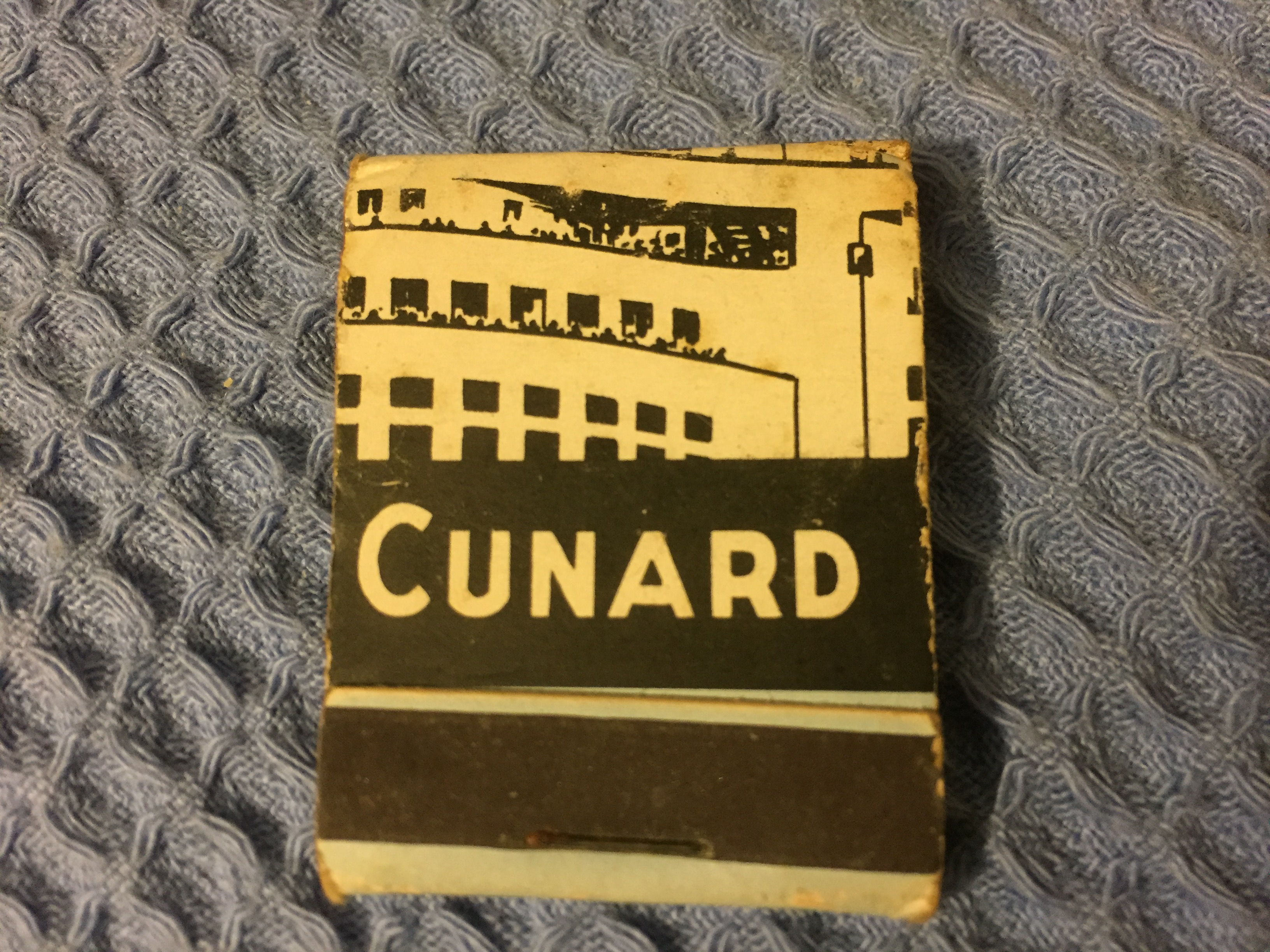 VERY EARLY UNUSED FLAT PACK BOX OF MATCHES FROM THE CUNARD LINE