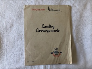 LANDING ARRANGEMENTS CARD FROM THE CUNARD WHITE STAR LINE VESSEL ASCANIA DATED 1949
