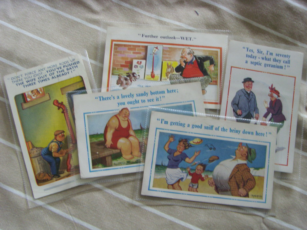 SET OF 5 ORIGINAL DONALD McGILL EARLY PIER HEAD POSTCARDS FROM 1930's/40's