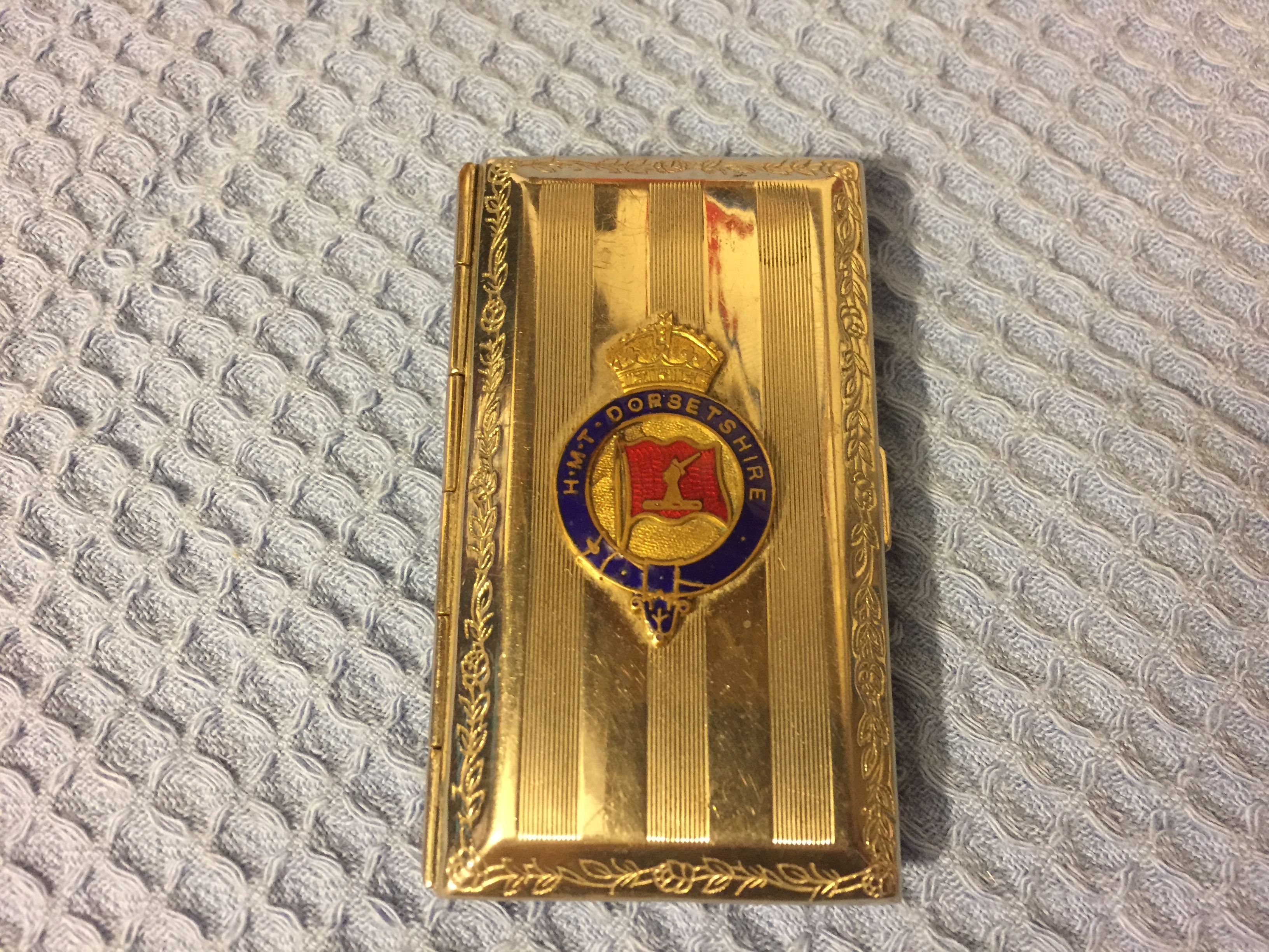 VERY VERY RARE TO FIND EARLY CIGARETTE CASE FROM THE VESSEL THE HMT DORSETSHIRE