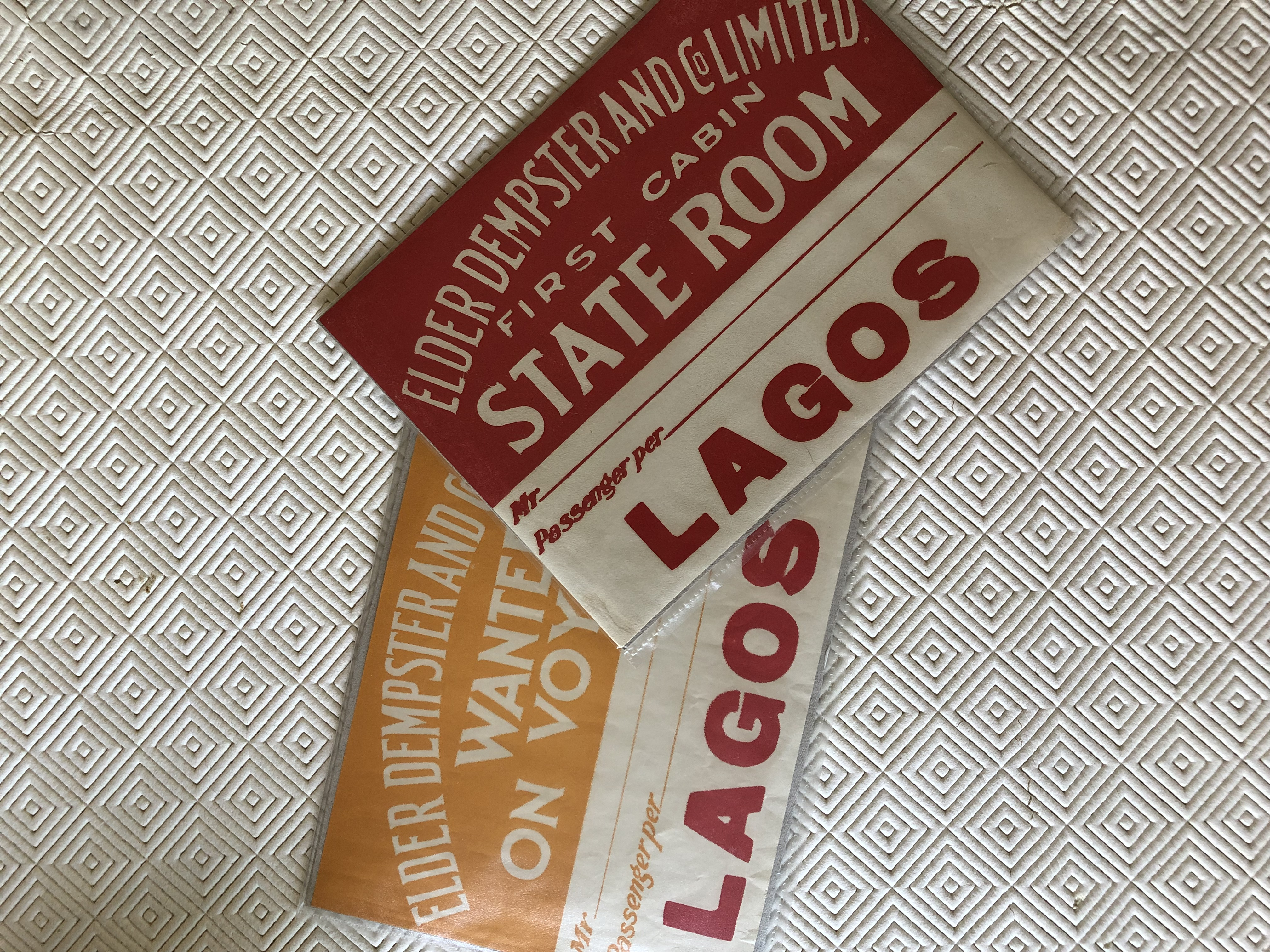 VERY RARE TO FIND EARLY LUGGAGE LABELS FROM THE ELDER DEMPSTER LINE