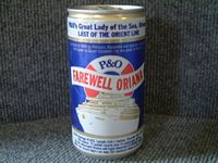 UNOPENED LAST FAREWELL VOYAGE CAN OF FOSTERS LAGER FOR THE P&O LINE VESSEL THE ORIANA