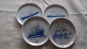 SET OF 4 SOUVENIR DISHES FROM THE HAMBURG AMERICA LINE