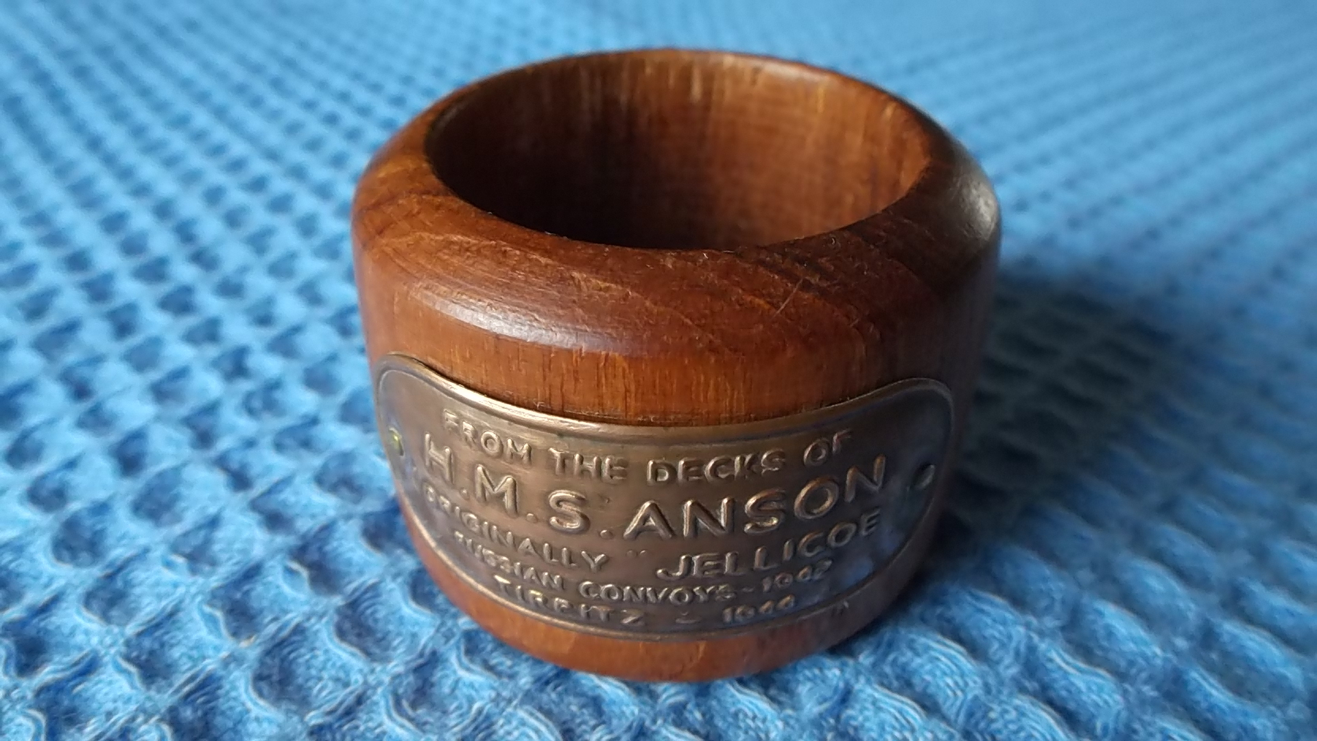 WOODEN NAPKIN RING MADE FROM THE TIMBERS OF HMS ANSON
