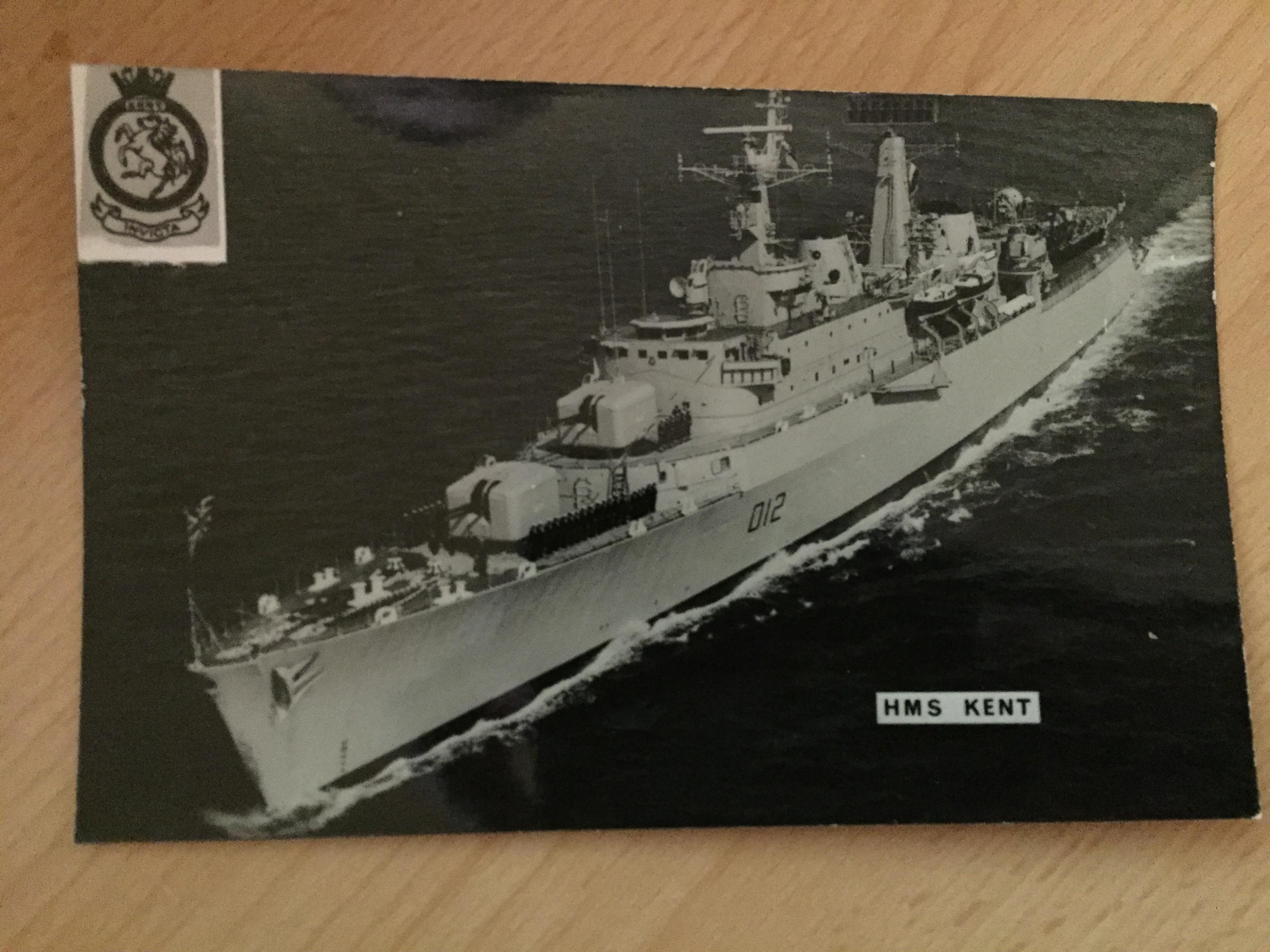 POSTCARD SIZE PHOTO OF THE ROYAL NAVAL VESSEL THE HMS KENT