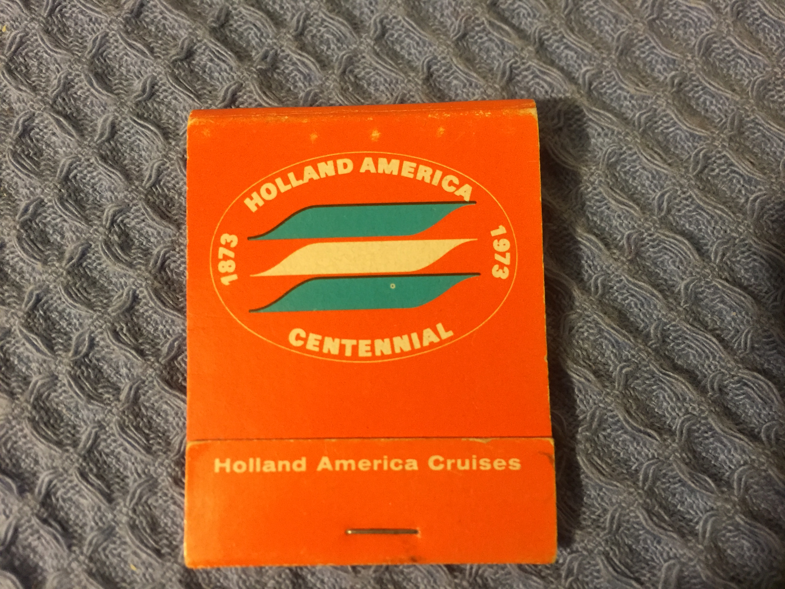 UNUSED CELEBRATORY FLAT PACK BOX OF MATCHES FROM THE HOLLAND AMERICA LINE CENTENNIAL YEAR