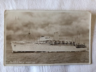 EARLY B/W POSTCARD FROM THE P&O LINE VESSEL THE SS IBERIA