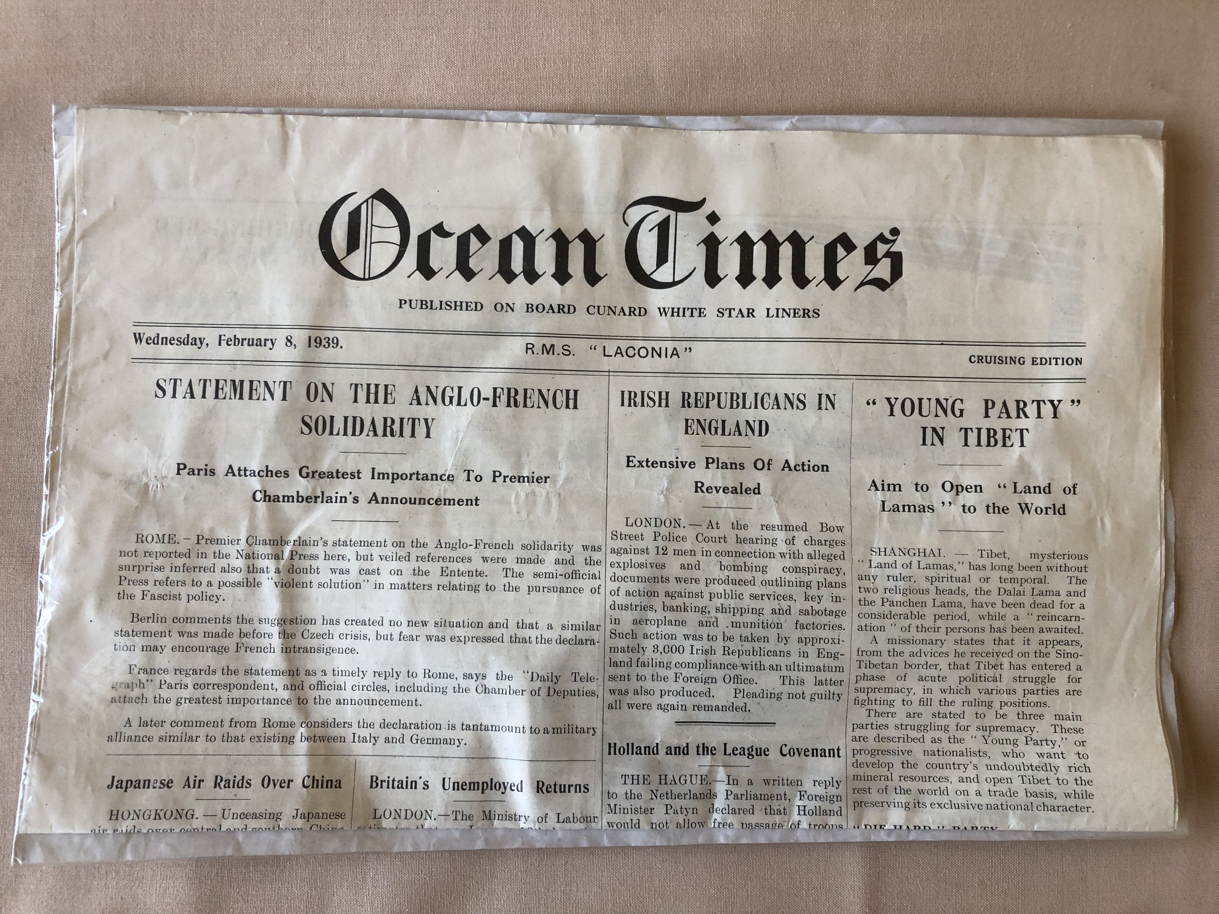 VERY RARE TO FIND EDITION OF THE SHIP NEWSPAPER THE 'OCEAN TIMES' FROM THE RMS LACONIA