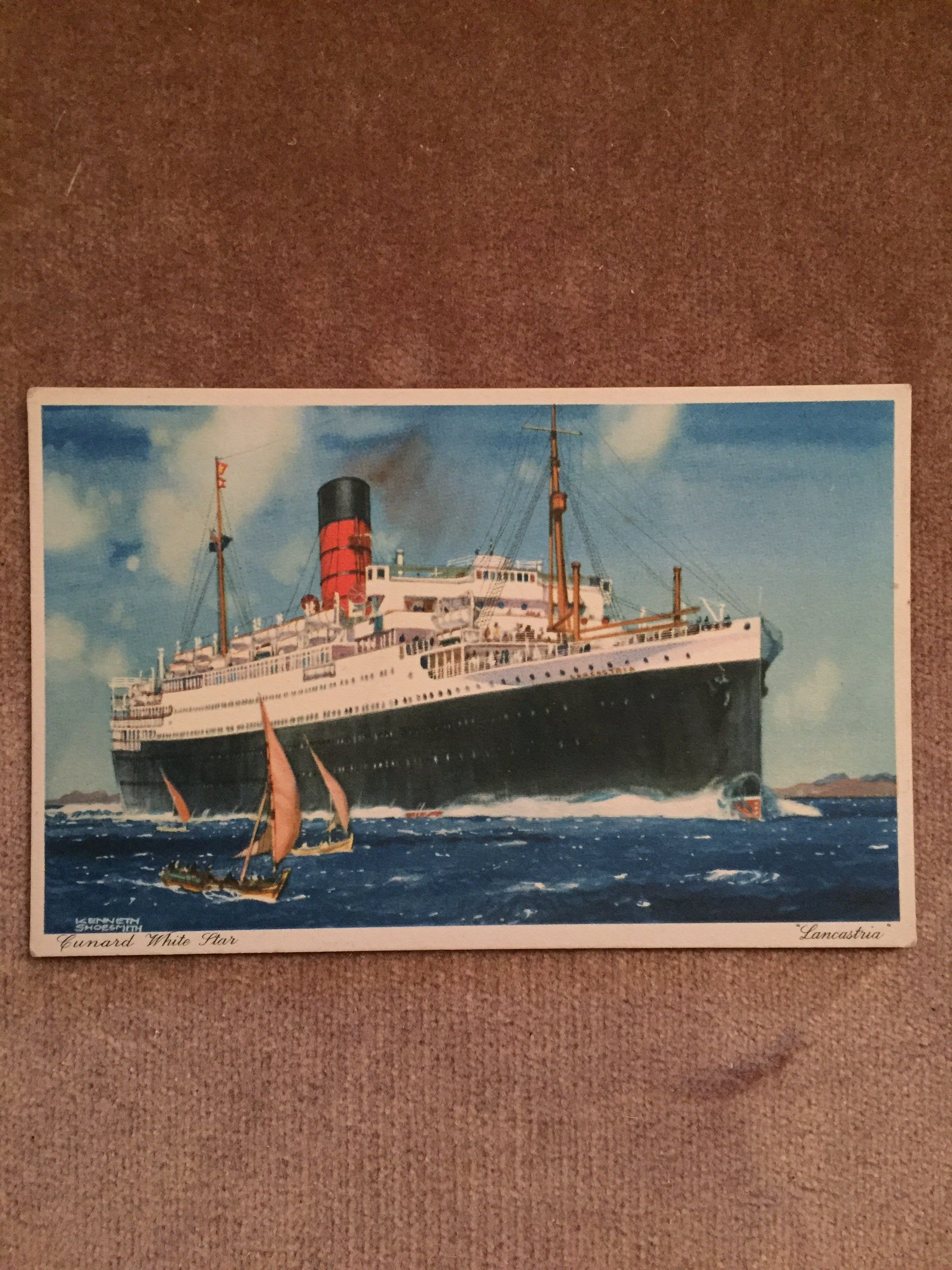 UNUSED COLOUR POSTCARD FROM THE OLD STEAMSHIP VESSEL LANCASTRIA