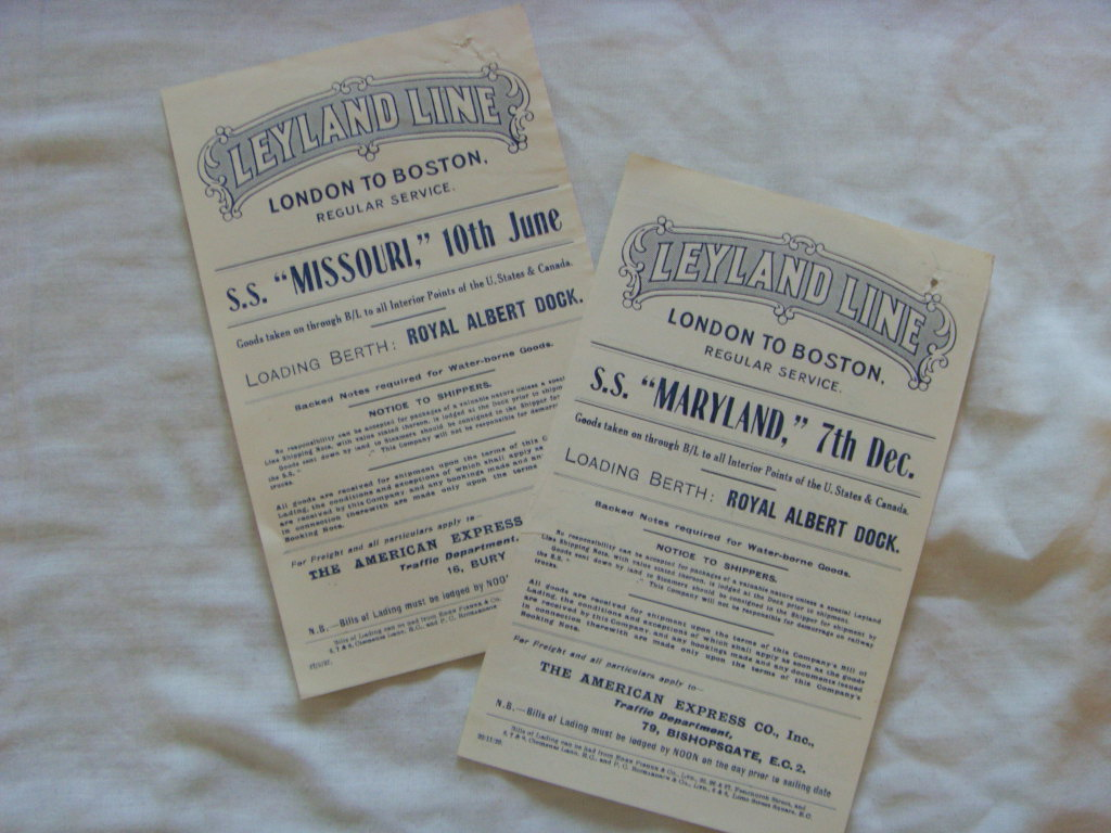 TWO INFORMATION 'SHIPS NOTICES' CARDS FROM THE LEYLAND LINE FROM 1927 & 1929