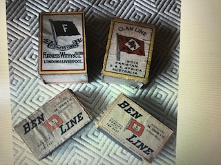 COLLECTION OF ORIGINAL OLD MATCH BOXES FROM VARIOUS SHIPPING LINES