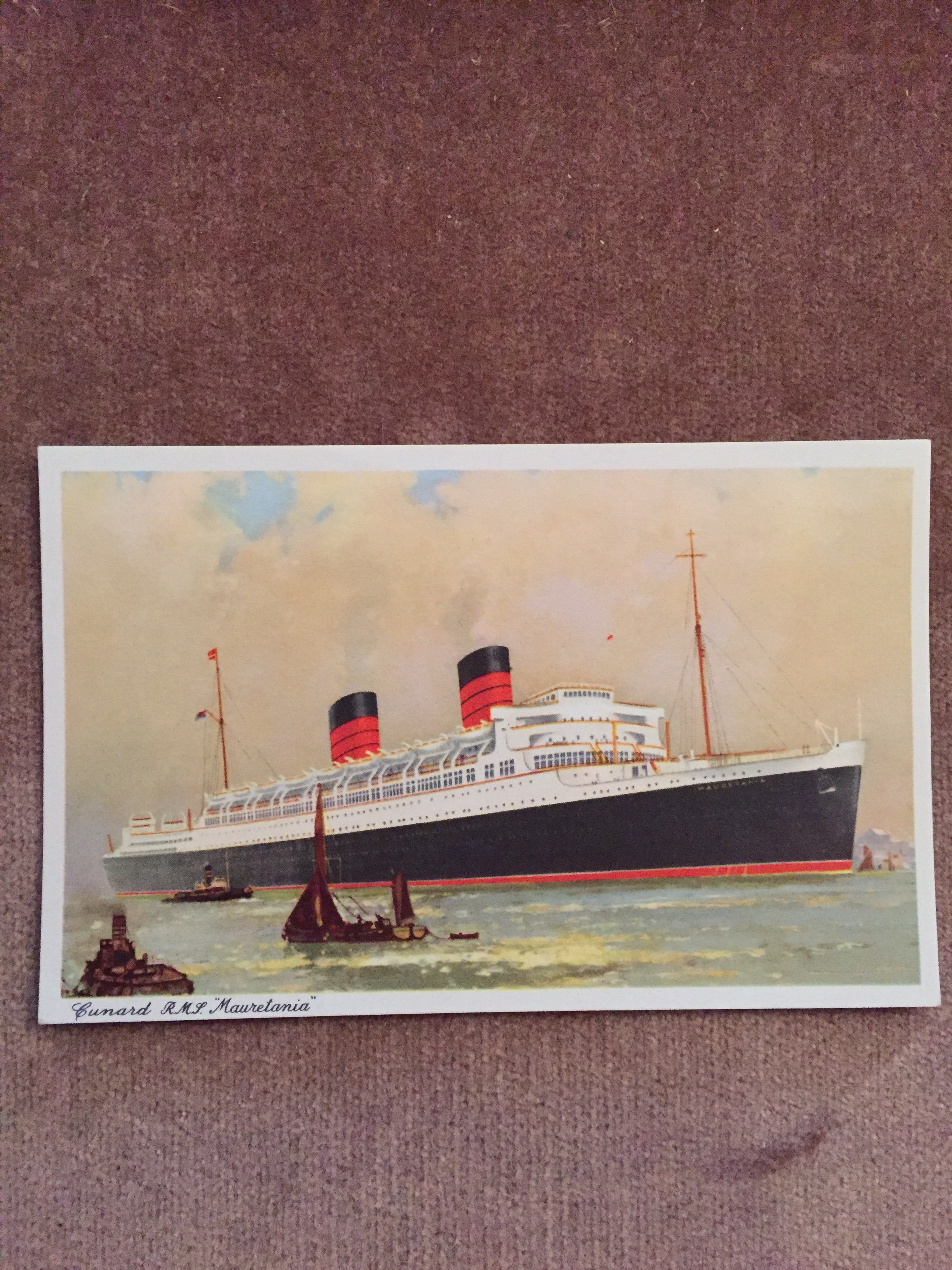 UNUSED COLOUR POSTCARD FROM THE OLD CUNARD WHITE STAR LINE VESSEL THE MAURETANIA