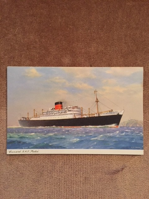 UNUSED COLOUR POSTCARD FROM THE OLD CUNARD LINE VESSEL THE MEDIA
