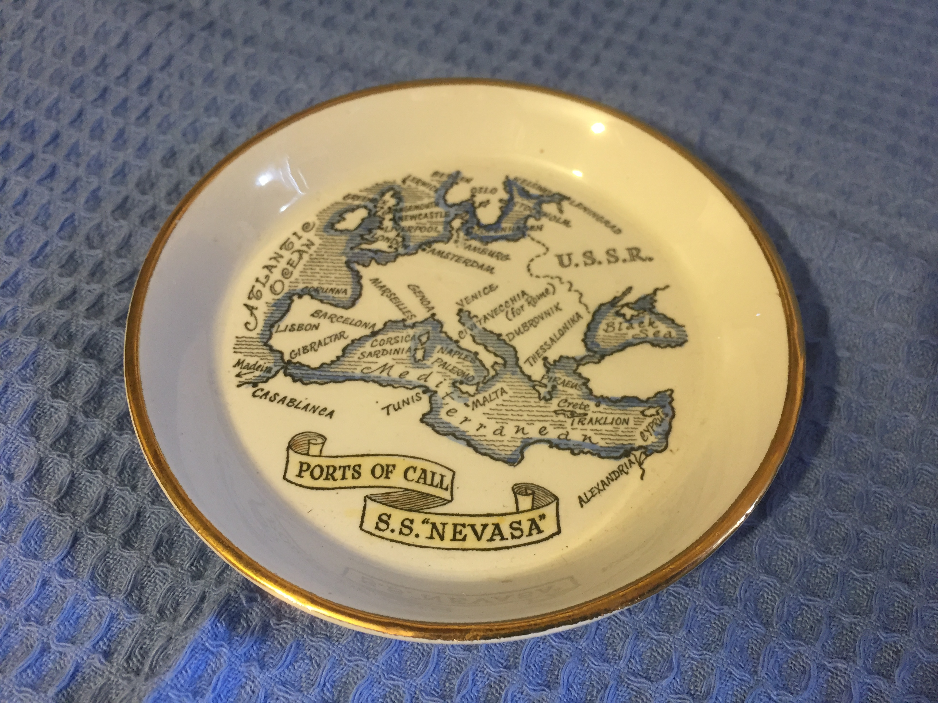 SOUVENIR MAP DISH FROM THE B.I.S.N.Co. VESSEL THE SS NEVASA