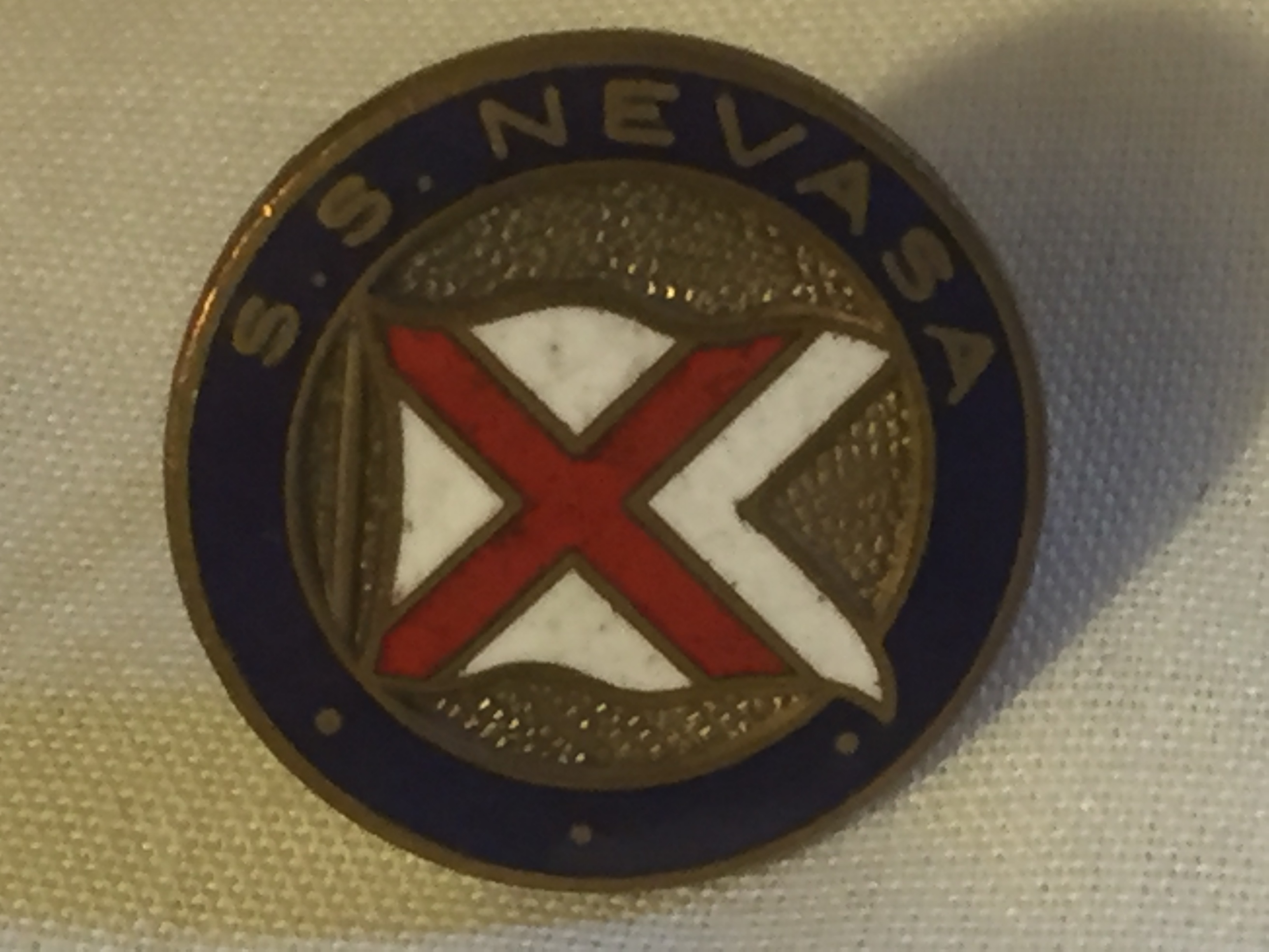 LAPEL PIN BADGE FROM THE VESSEL THE SS NEVASA OF THE BRITISH INDIA STEAM NAVIGATION COMPANY