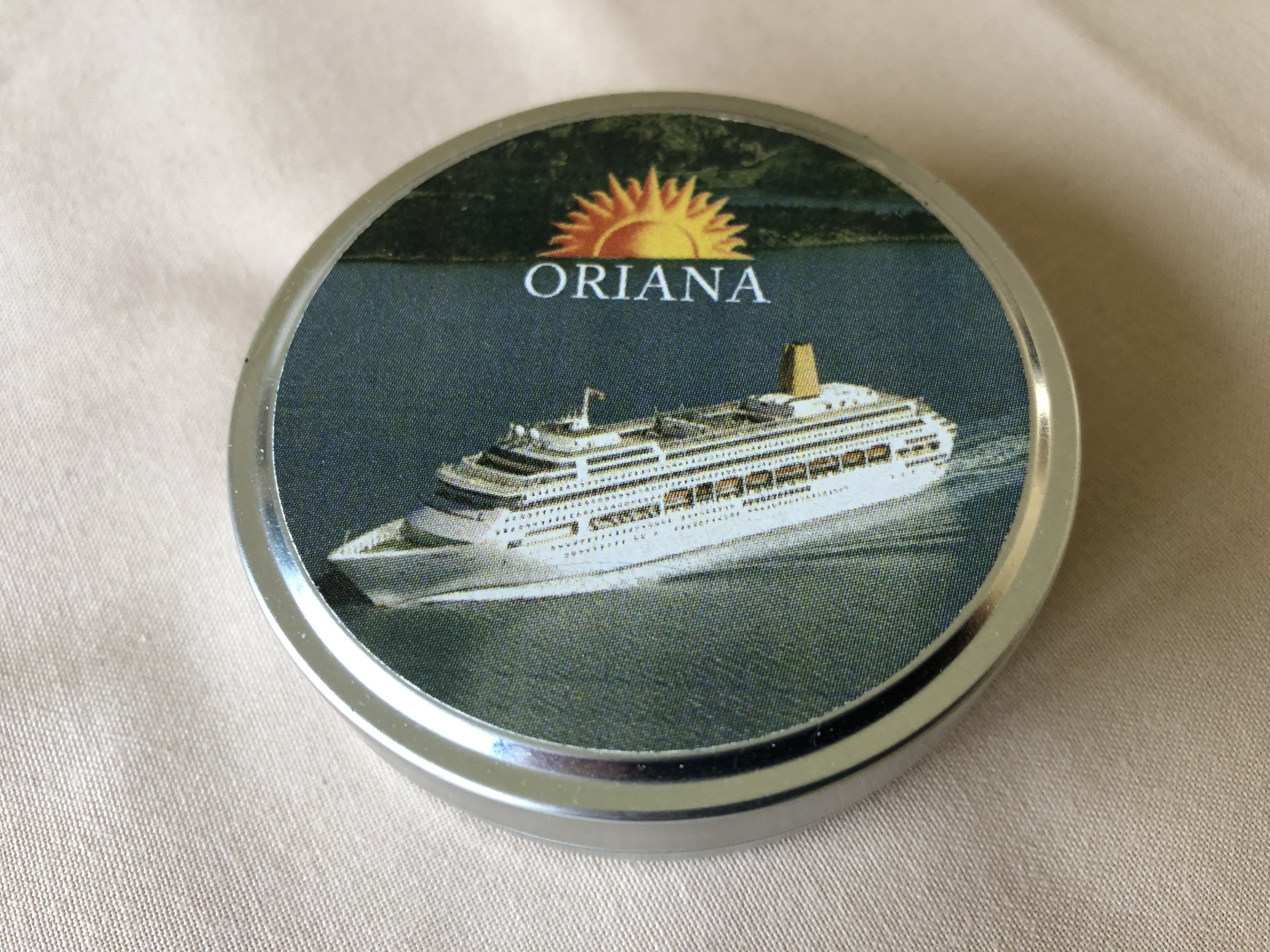 SOUVENIR TIN FROM THE ORIGINAL OLD ORIENT LINE VESSEL THE ORIANA