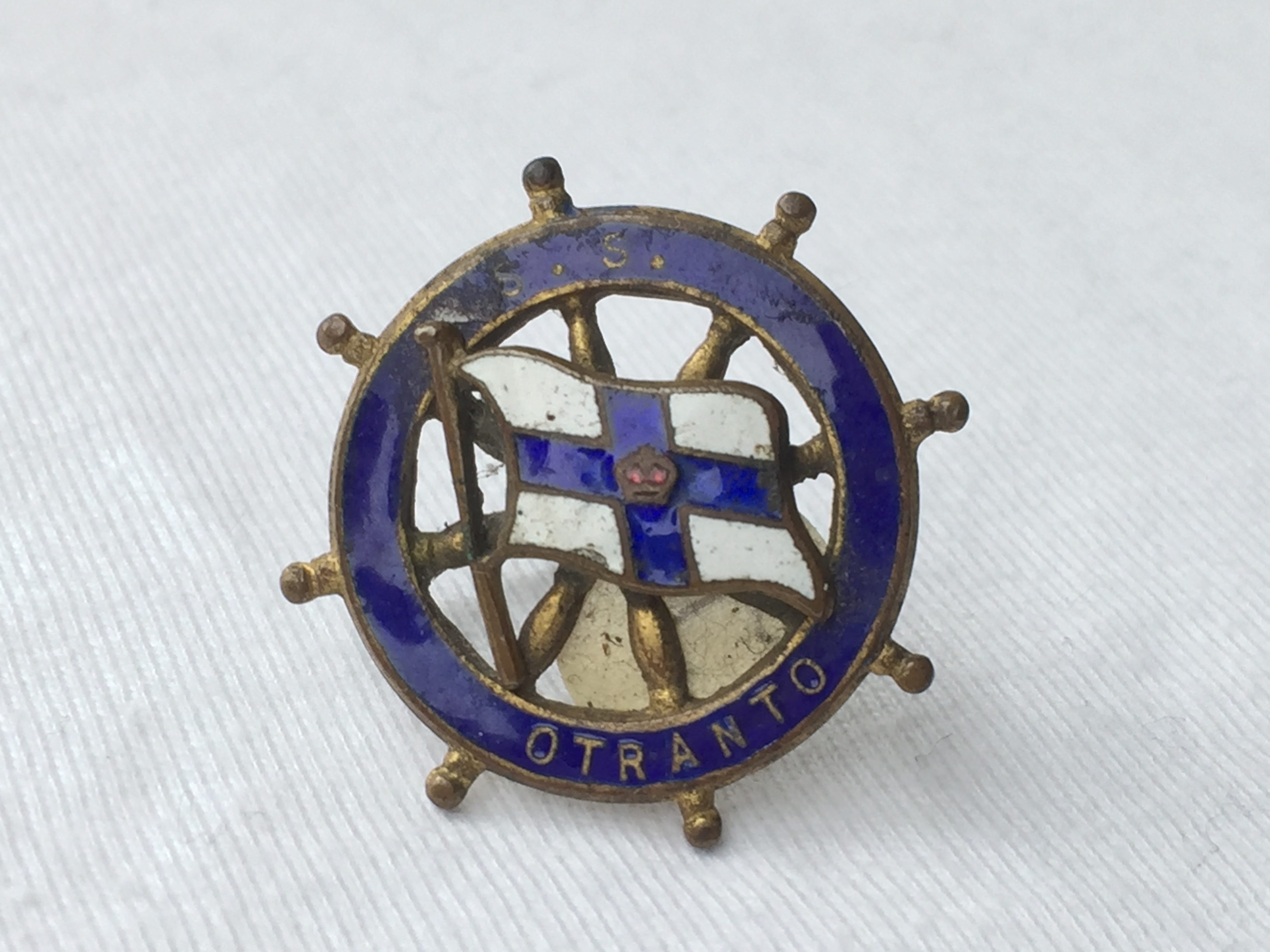 VERY RARE TO FIND LAPEL PIN BADGE FROM THE ORIENT LINE VESSEL THE SS OTRANTO 1926-1956