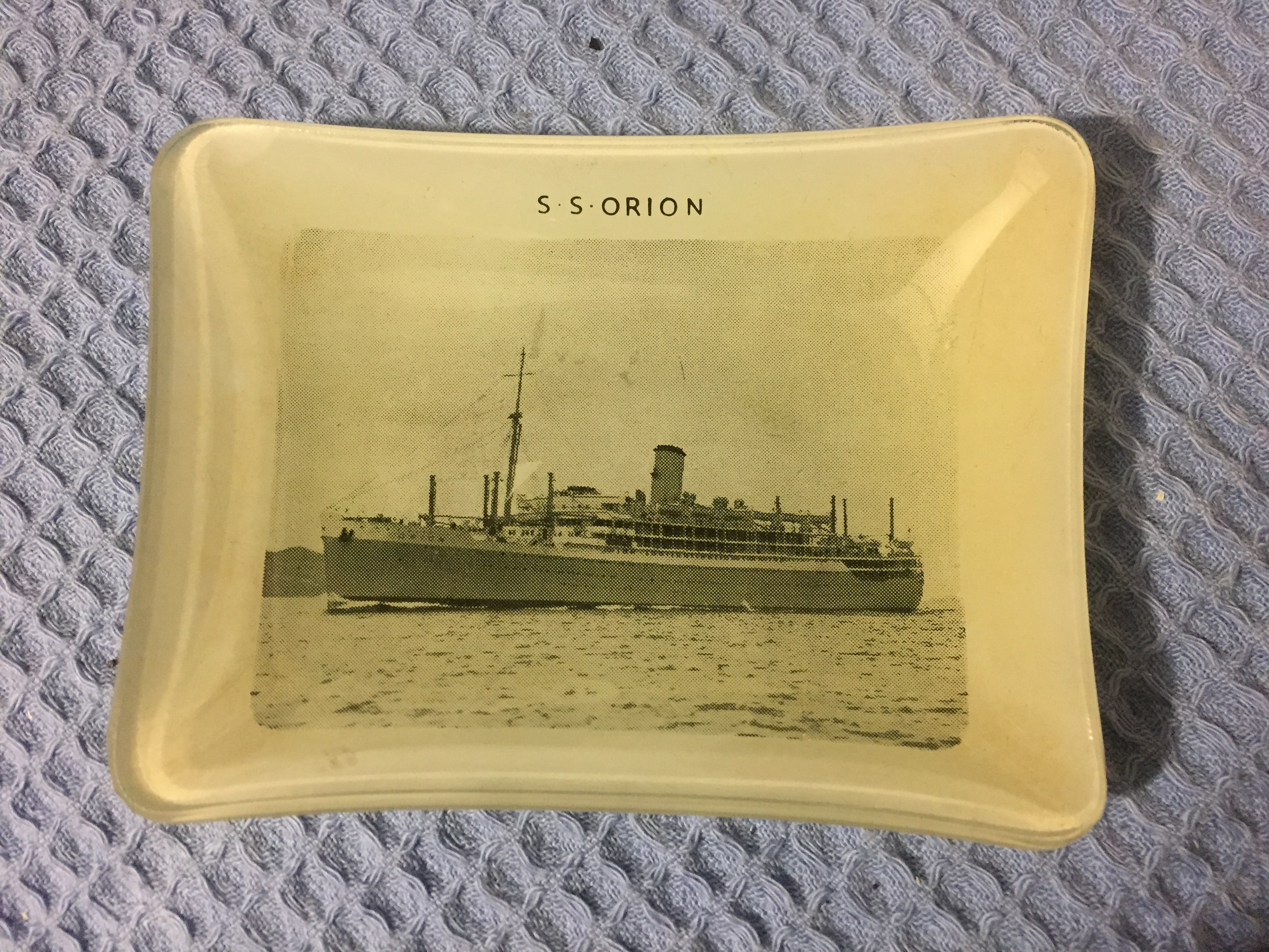 SMOKED GLASS DISH FROM THE VESSEL THE SS ORION