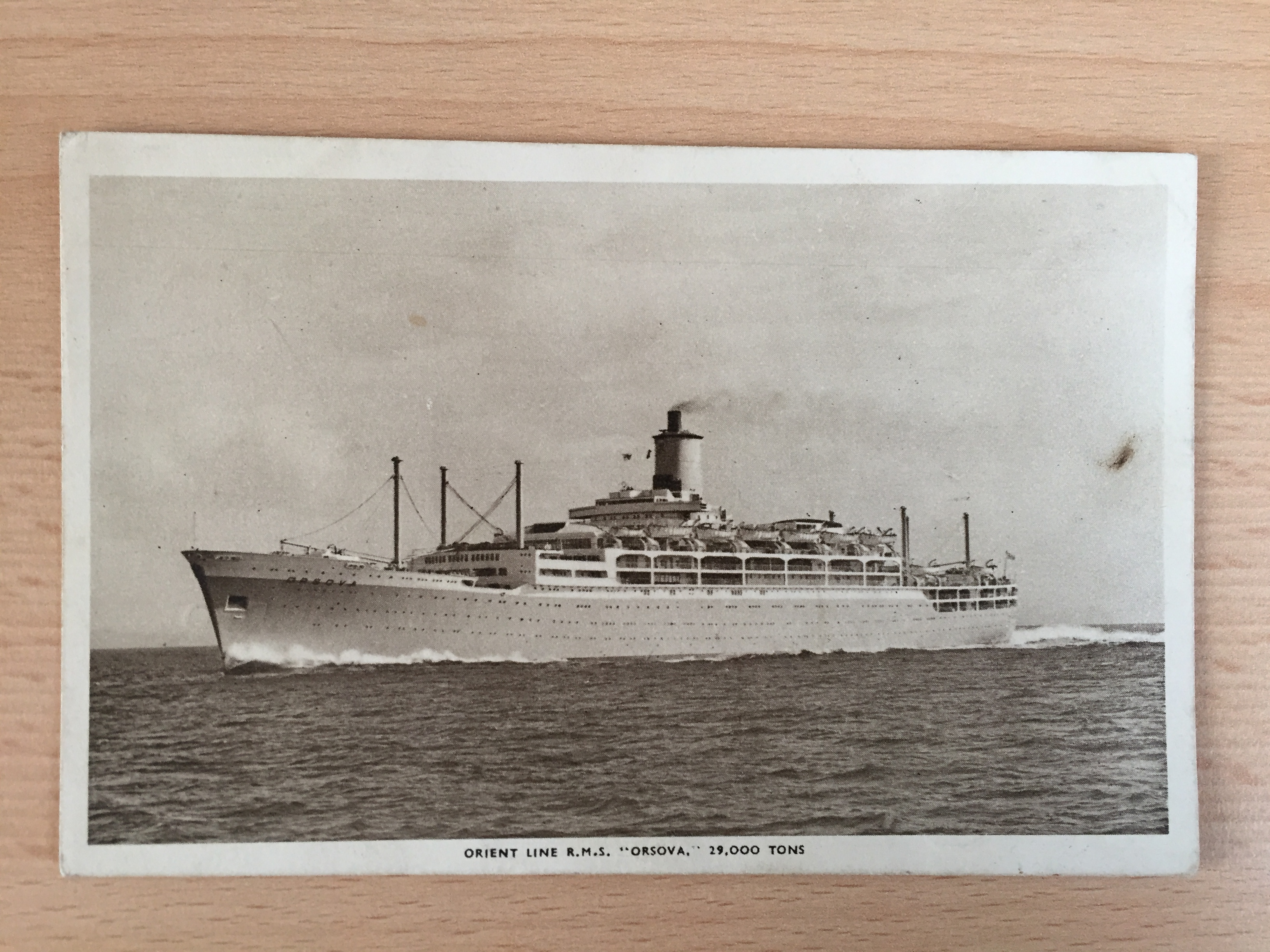 B/W USED POSTCARD FROM THE ORIENT LINE VESSEL THE RMS ORSOVA