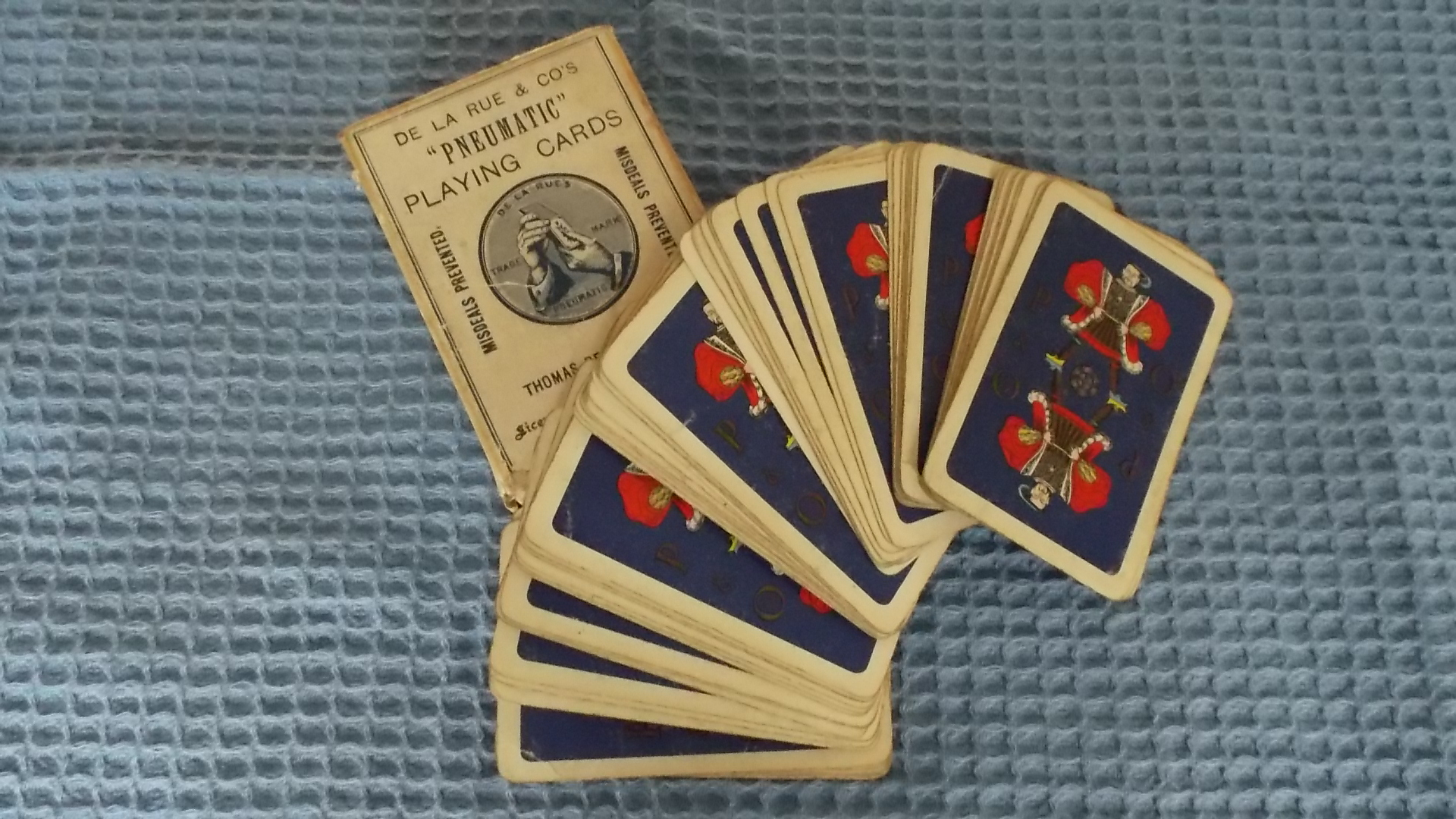 VERY EARLY SET OF USED PLAYING CARDS FROM THE P&O LINE
