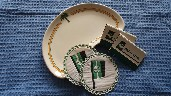 KIDNEY SHAPED OVAL CHINA DISH FROM THE PALM LINE SHIPPING COMPANY PLUS MATCHES AND DRINKS COASTERS